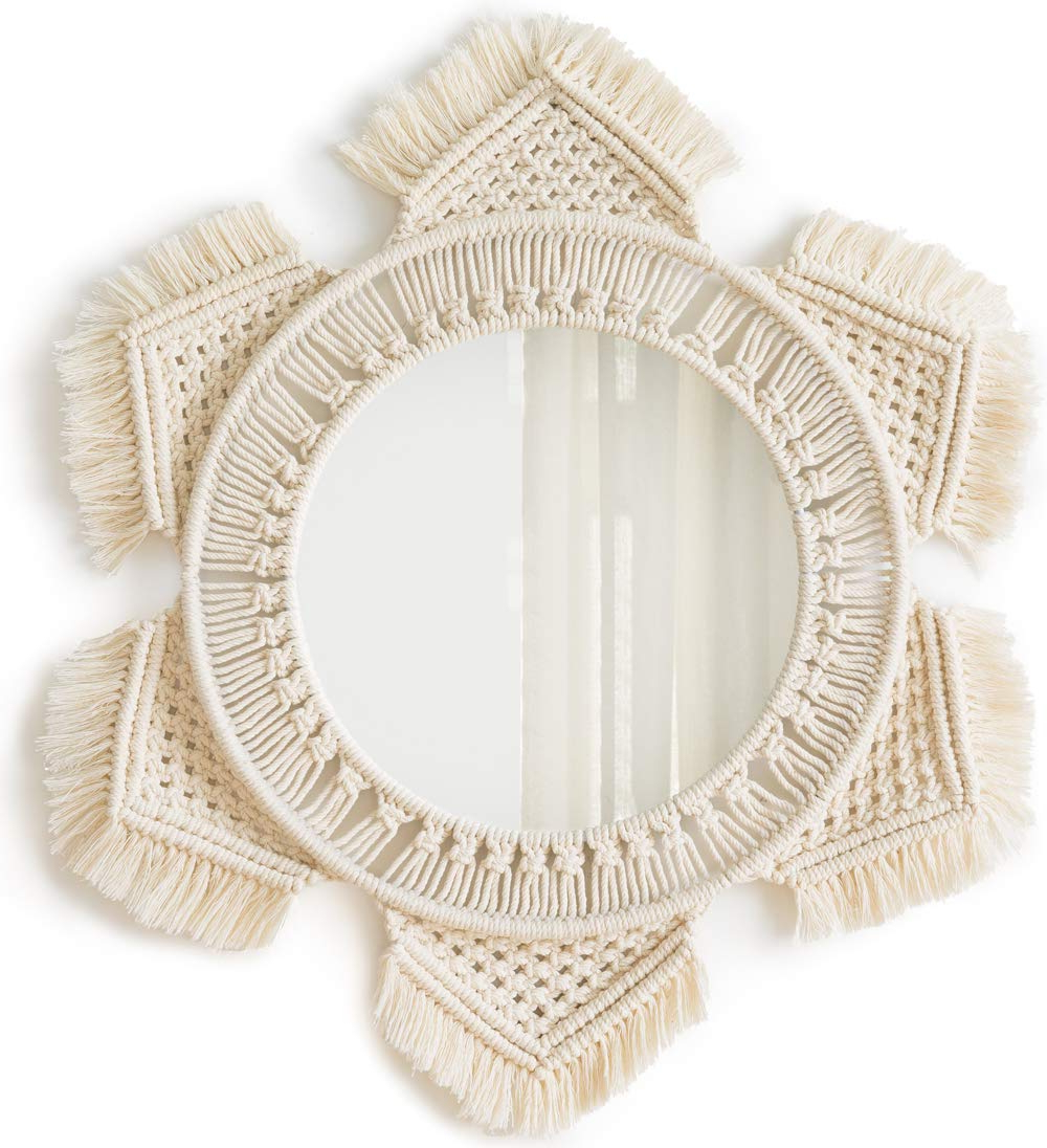 Best And Newest Hang Wall Mirrors Within Mkono Hanging Wall Mirror With Macrame Fringe Round Mirror Decor For Apartment Living Room Bedroom Baby Nursery (View 14 of 20)