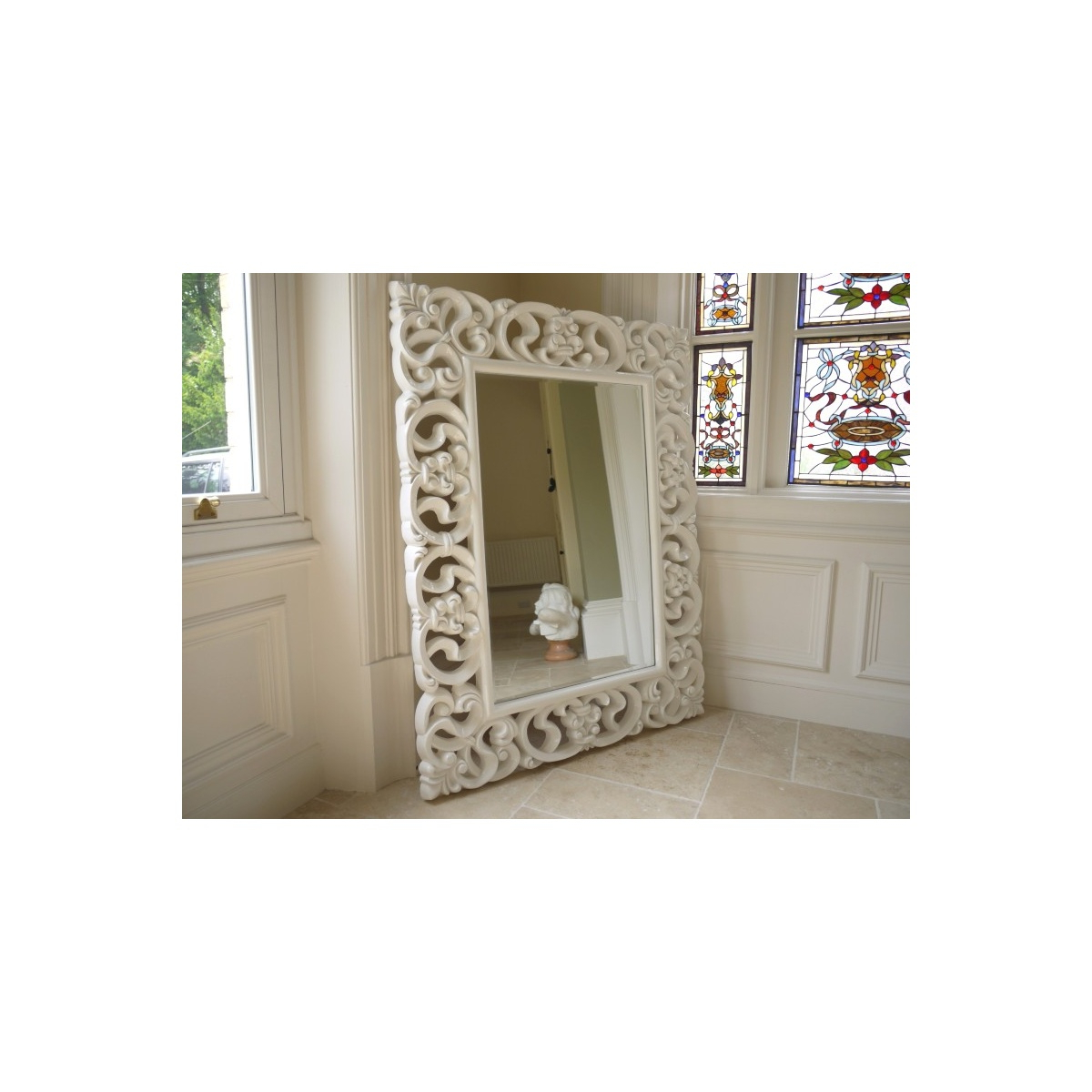 Best And Newest Large French White Ornate Wall Mirror, Gloss Throughout Large White Wall Mirrors (View 14 of 20)