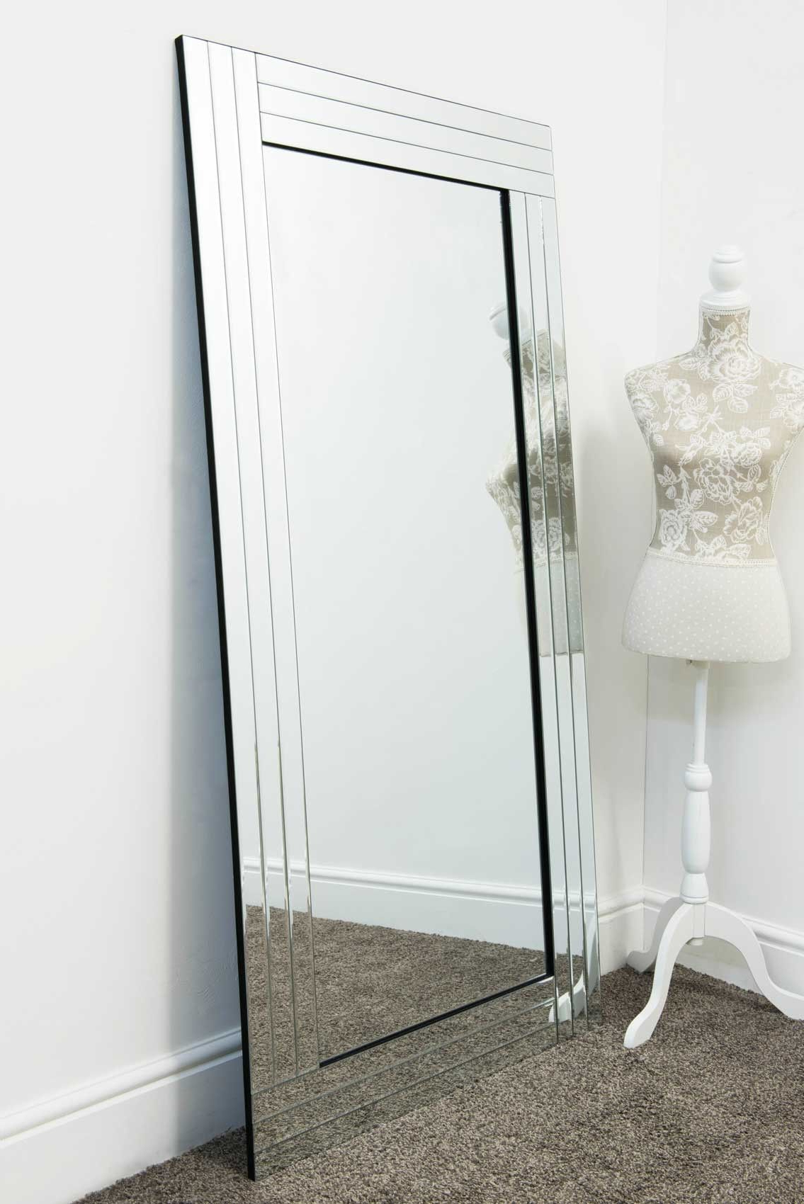 Best And Newest Large Glass Bevelled Wall Mirrors Inside Large Silver Bevelled Modern All Glass Wall Mirror 5Ft8 X 2Ft9 174Cm (View 14 of 20)