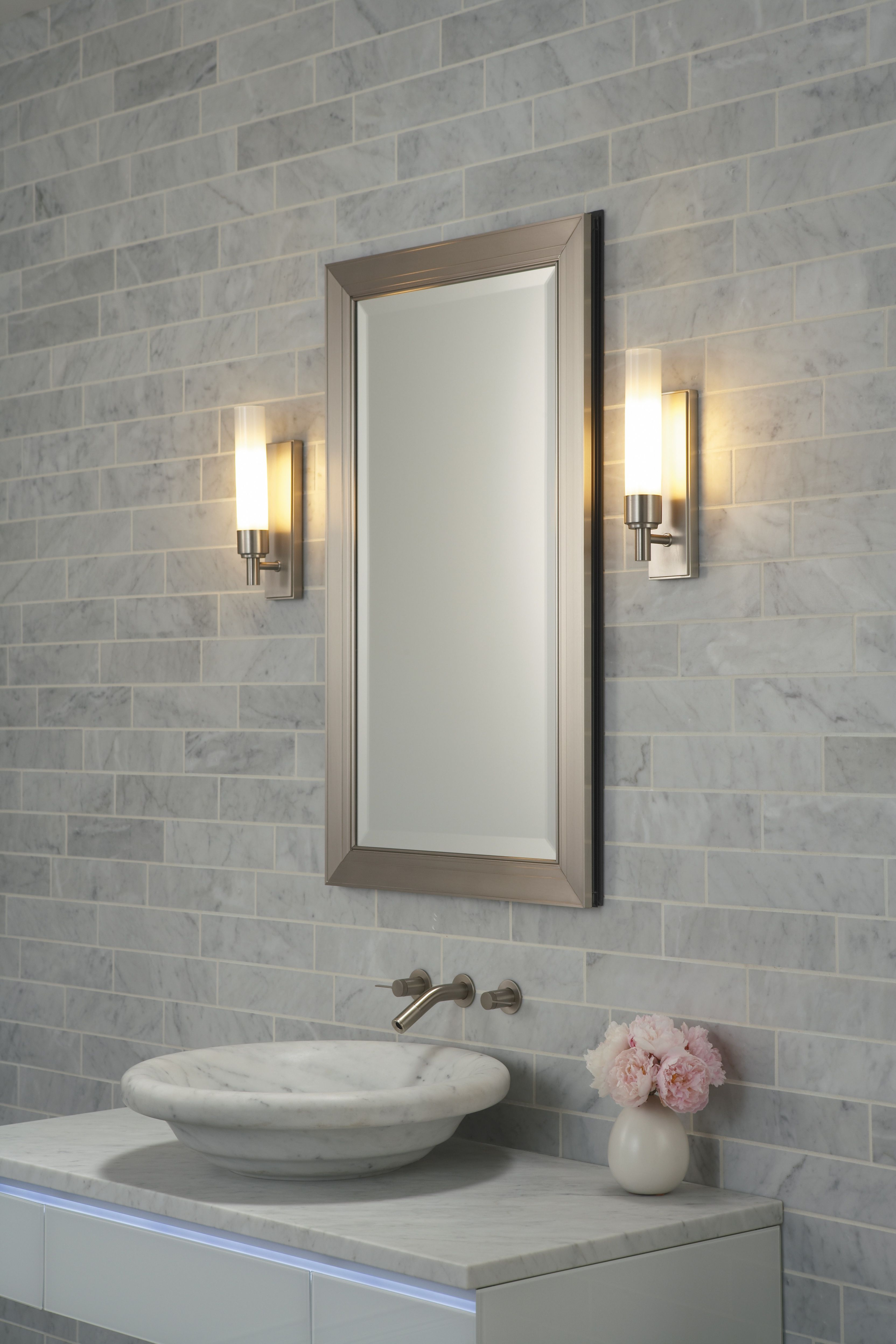 Best And Newest Lighting Ideas, Brushed Nickel Wall Sconcess Beside Of Metal Frame Regarding Brushed Nickel Wall Mirrors (View 8 of 14)