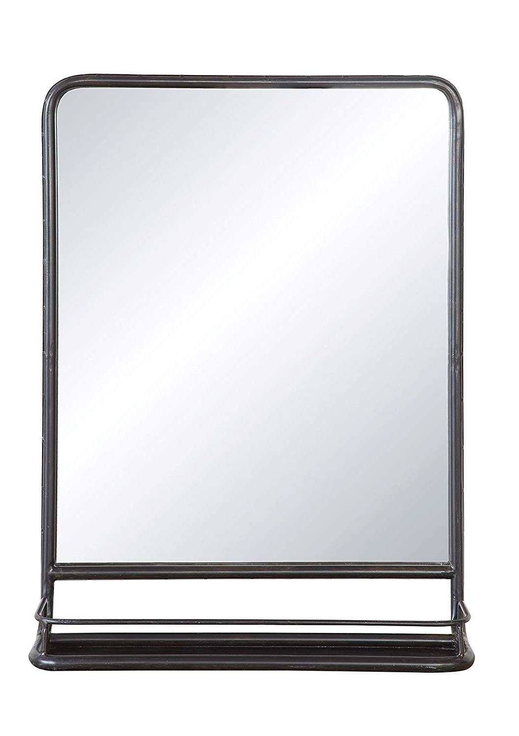 Best And Newest Metal Frame Wall Mirrors Within Creative Co Op Rectangle Metal Framed Wall Mirror With Shelf, Single Vanity, Black (View 7 of 20)