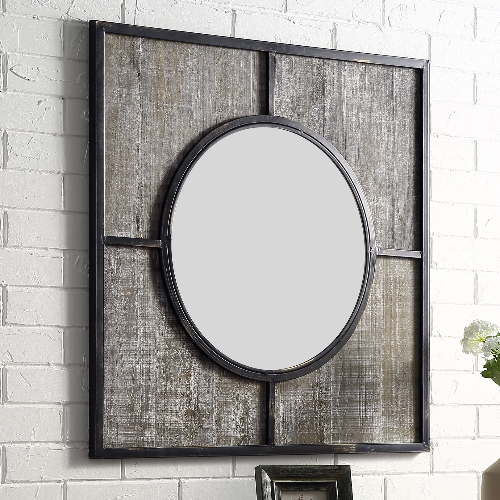 Best And Newest Milly Transitional Farmhouse Accent Mirror Inside 2 Piece Priscilla Square Traditional Beveled Distressed Accent Mirror Sets (View 17 of 20)