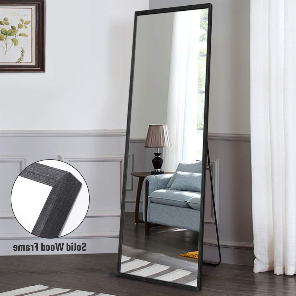 "Best And Newest Neutype 65""x22"" Full Length Mirror Standing Hanging Or Leaning Against Wall, Large Rectangle Bedroom Mirror Floor Mirror Dressing Mirror, Solid Wood Inside Leaning Wall Mirrors (View 19 of 20)"