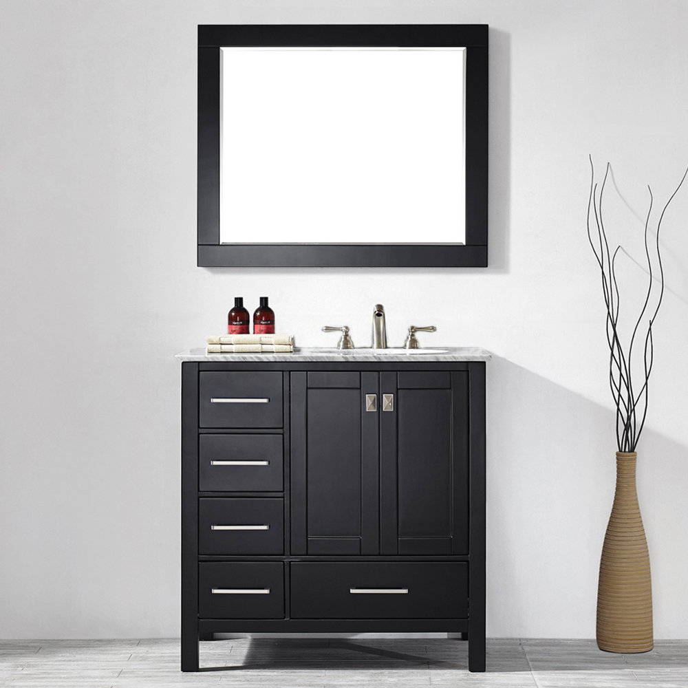 "Best And Newest Newtown Accent Mirrors Intended For Newtown 36"" Single Bathroom Vanity Set With Mirror (View 5 of 20)"