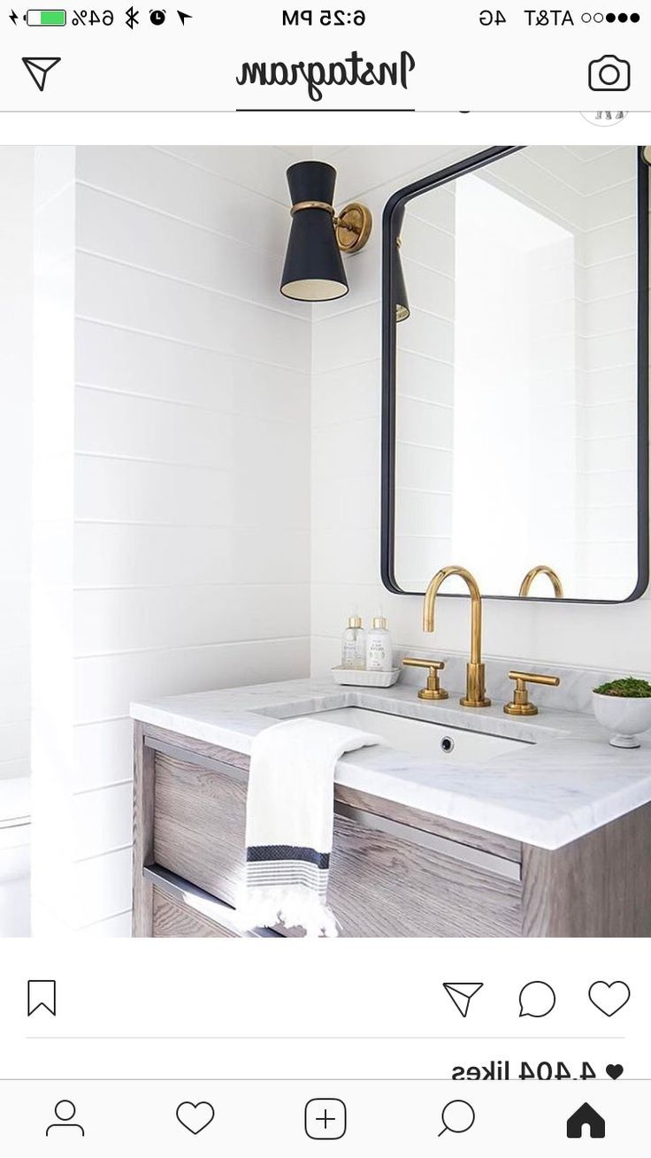 Best And Newest Owens Accent Mirrors With Regard To Black Light Fixture And Mirror Frame, Brass Faucet And Accent On (View 3 of 20)
