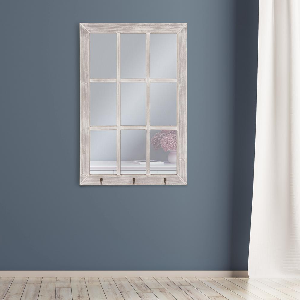 Best And Newest Pinnacle Windowpane With Hooks Rectangular White Decorative With Regard To White Wall Mirrors With Hooks (View 5 of 20)