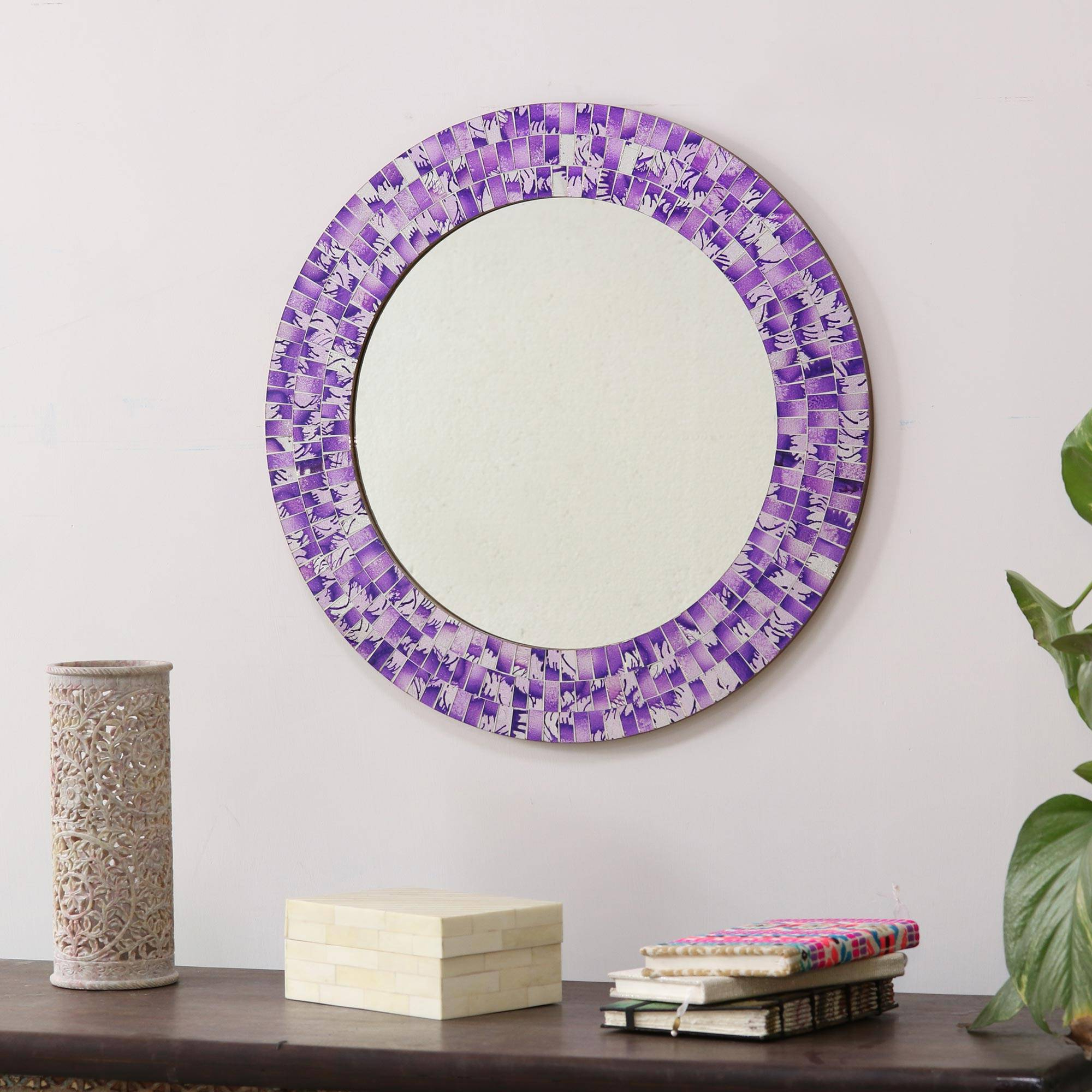 Best And Newest Purple Wall Mirrors With Round Wall Mirror And Frame Handcrafted With Mosaics, 'purple Caprice' (View 2 of 20)