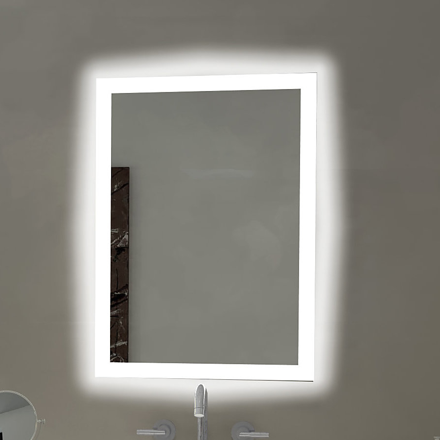 Best And Newest Rectangle Backlit Bathroom/vanity Wall Mirror Inside Bathroom Vanity Wall Mirrors (View 13 of 20)