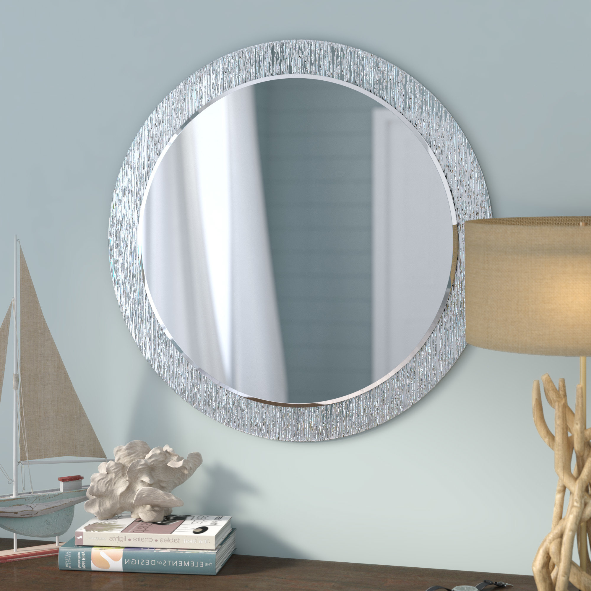 Best And Newest Sajish Oval Crystal Wall Mirrors Throughout Point Reyes Molten Round Wall Mirror (View 18 of 20)