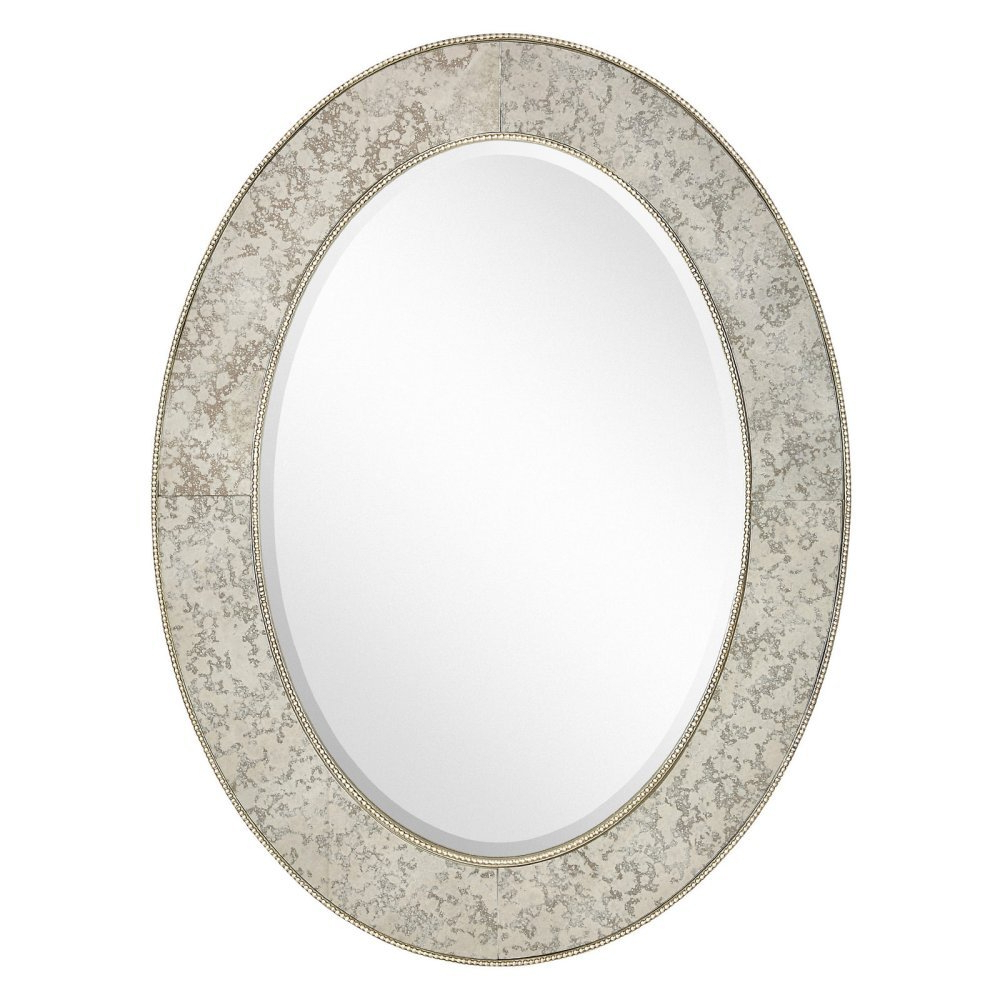 Best And Newest Traditional Beveled Wall Mirrors Pertaining To Amazon: Majestic Mirror Traditional Antique Silver Leaf Oval (View 20 of 20)