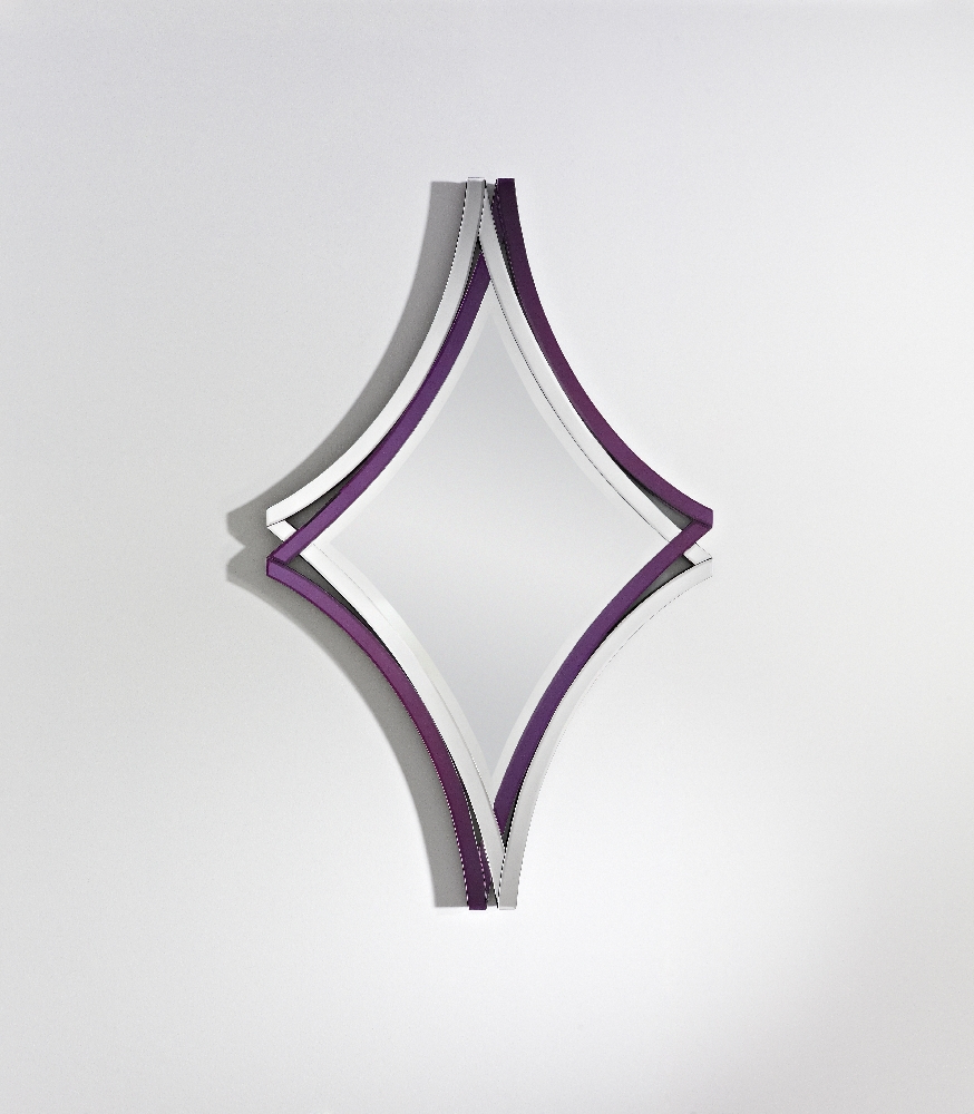 Best And Newest Twice Frameless Diamond Shaped Curved Purple Bevelled Wall Mirror Deknudt Mirrors Intended For Purple Wall Mirrors (View 3 of 20)