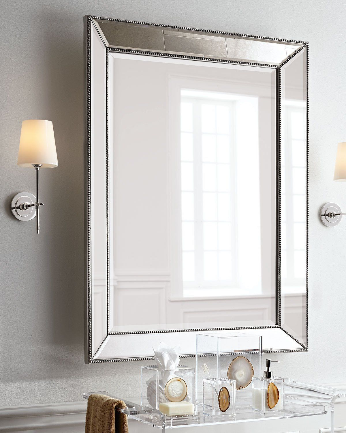 Best And Newest Visual Comfort Bryant Sconce With Polished Nickel Finish In 2019 Intended For Lake Park Beveled Beaded Accent Wall Mirrors (View 11 of 20)