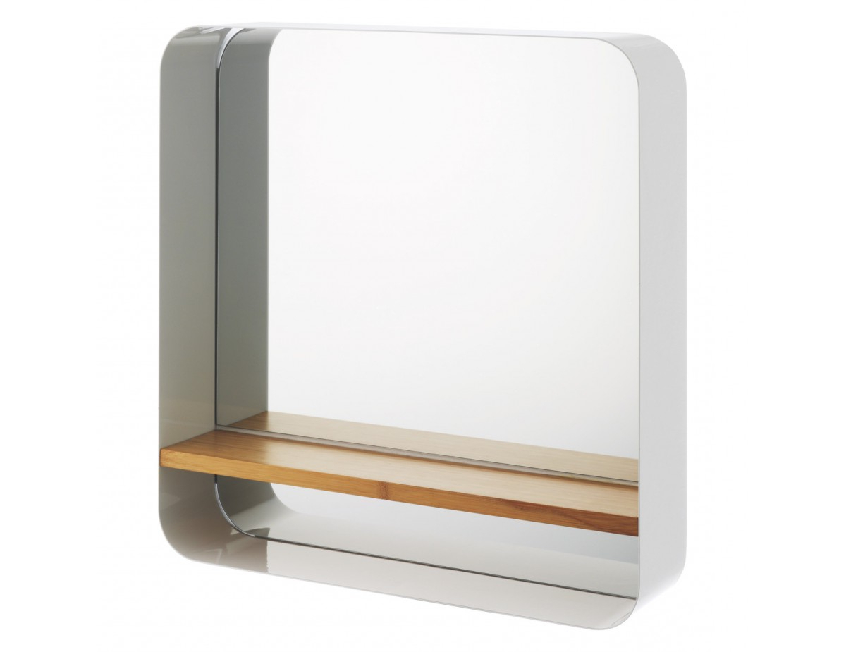Bethany White Wall Mounted Mirror With Bamboo Shelf Intended For Well Known Wall Mirrors With Shelf (View 16 of 20)