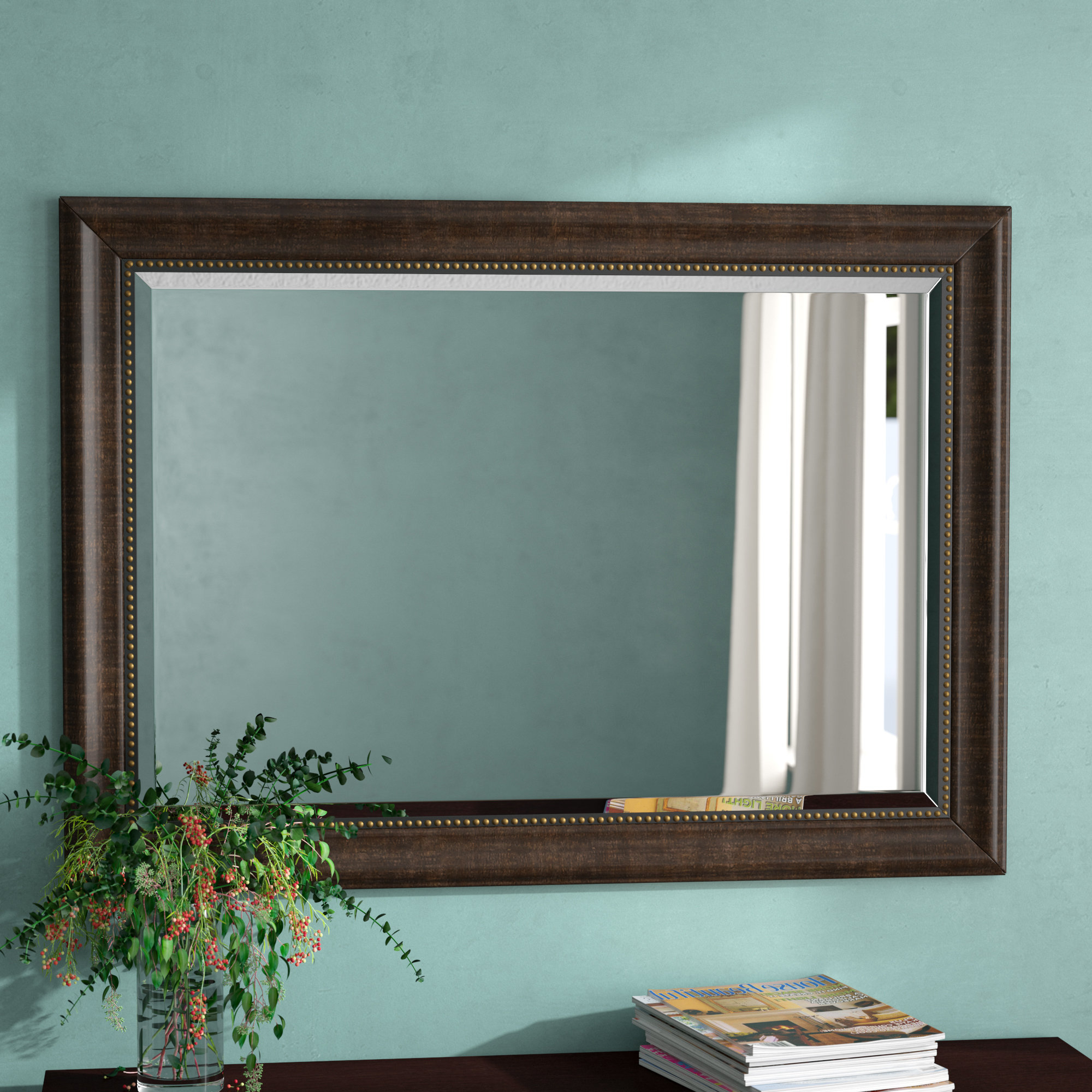 Beveled Wall Mirrors Throughout Most Recent Vassallo Beaded Bronze Beveled Wall Mirror (View 3 of 20)