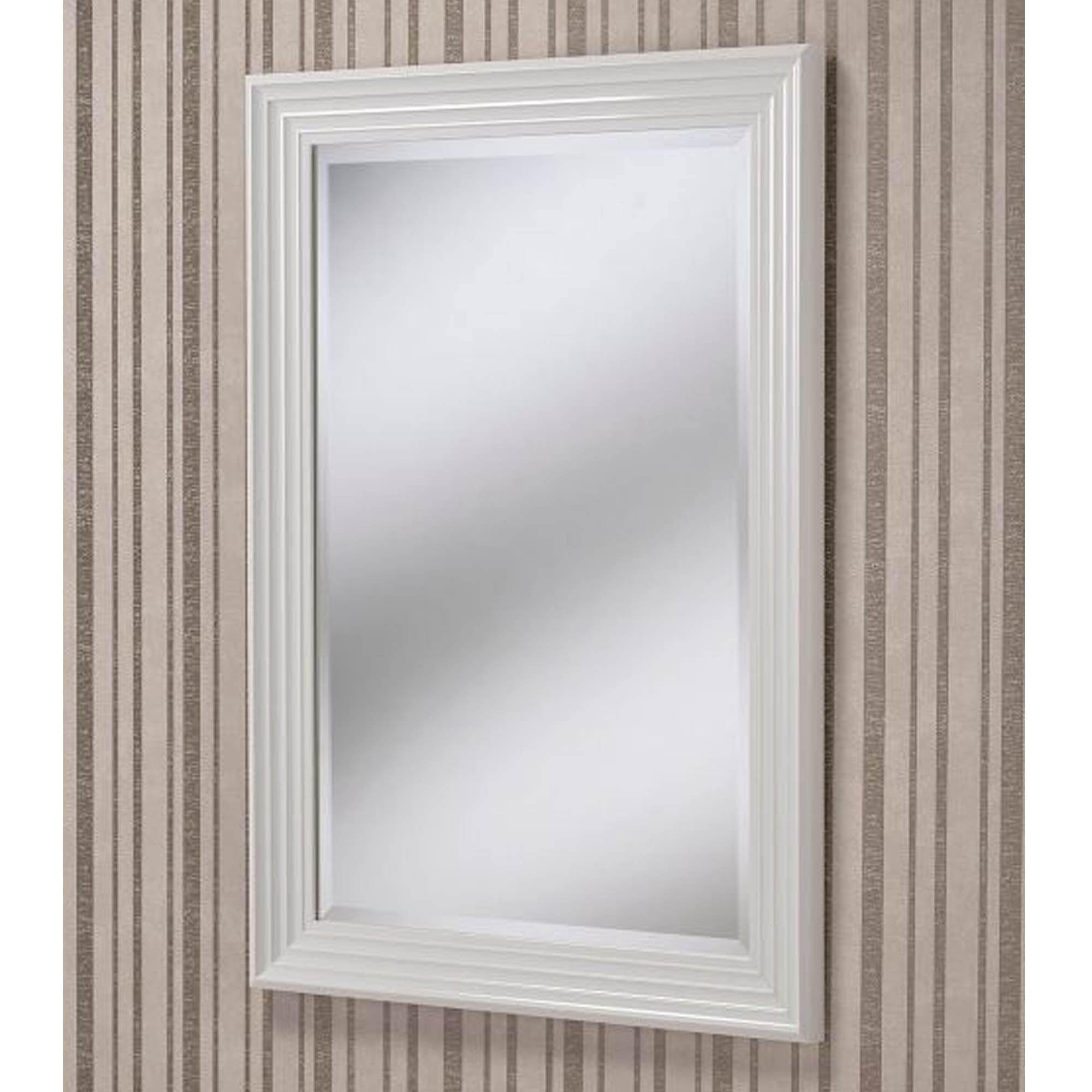Beveled Wall Mirrors With Current Rectangular White Beveled Contemporary Wall Mirror (View 14 of 20)