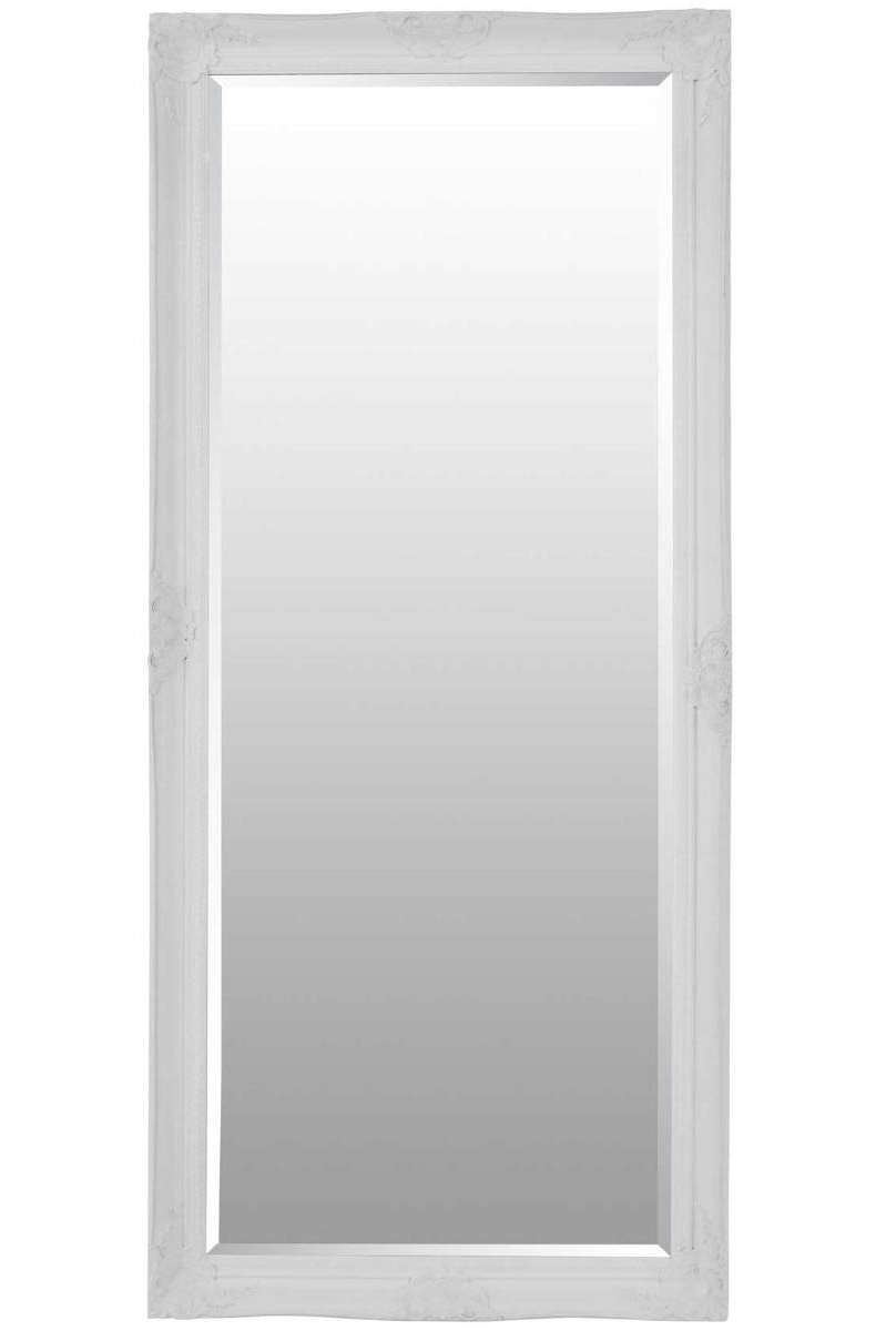 Bevelled Wall Mirrors Regarding Most Current Large White Bevelled Full Length Dressing Wall Mirror 5ft6 X 2ft6 168cmx76cm (View 15 of 20)