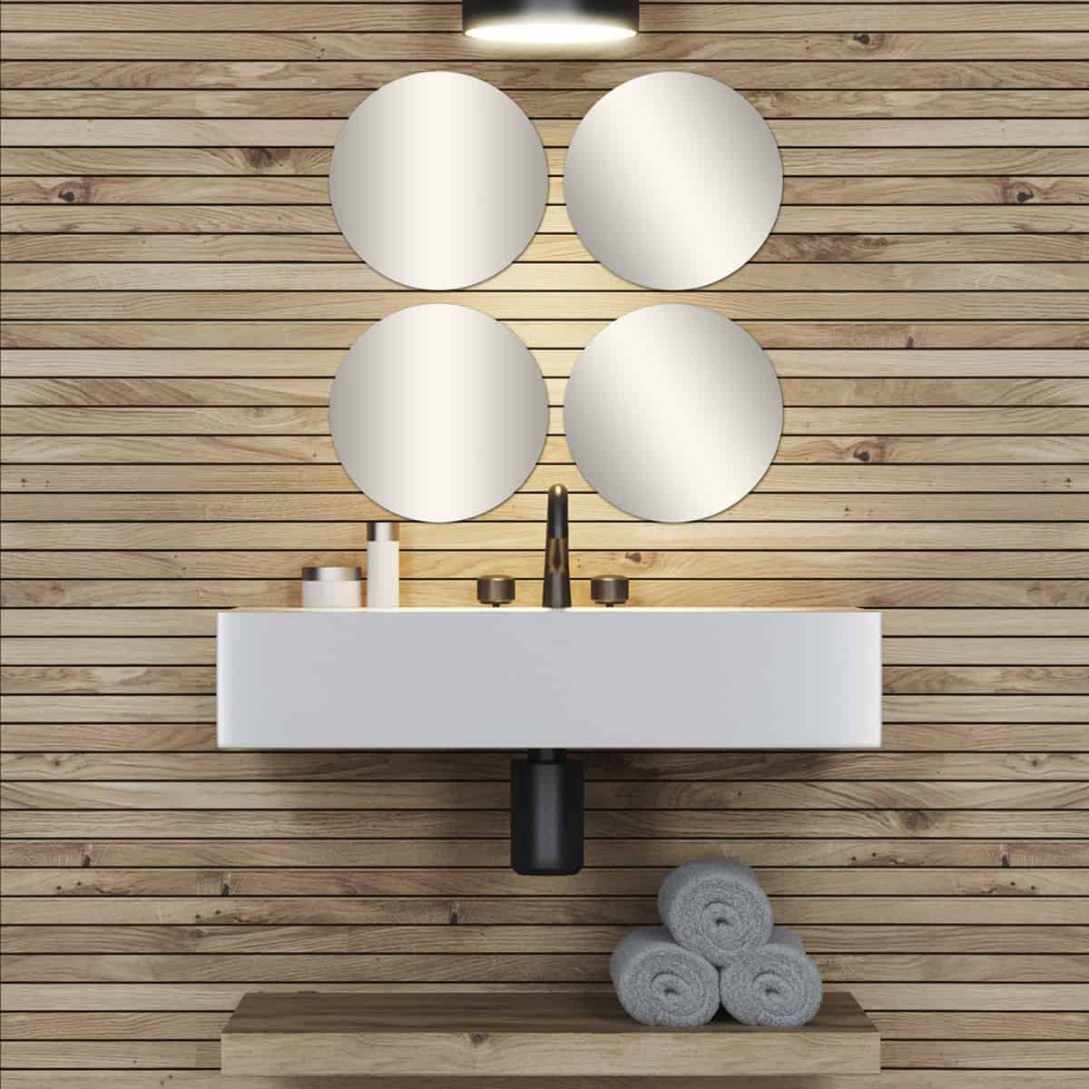 Big Decorative Wall Self Adhesive Shaped Mirrors – Set Of 4 Inside Most Recently Released Big Decorative Wall Mirrors (View 12 of 20)