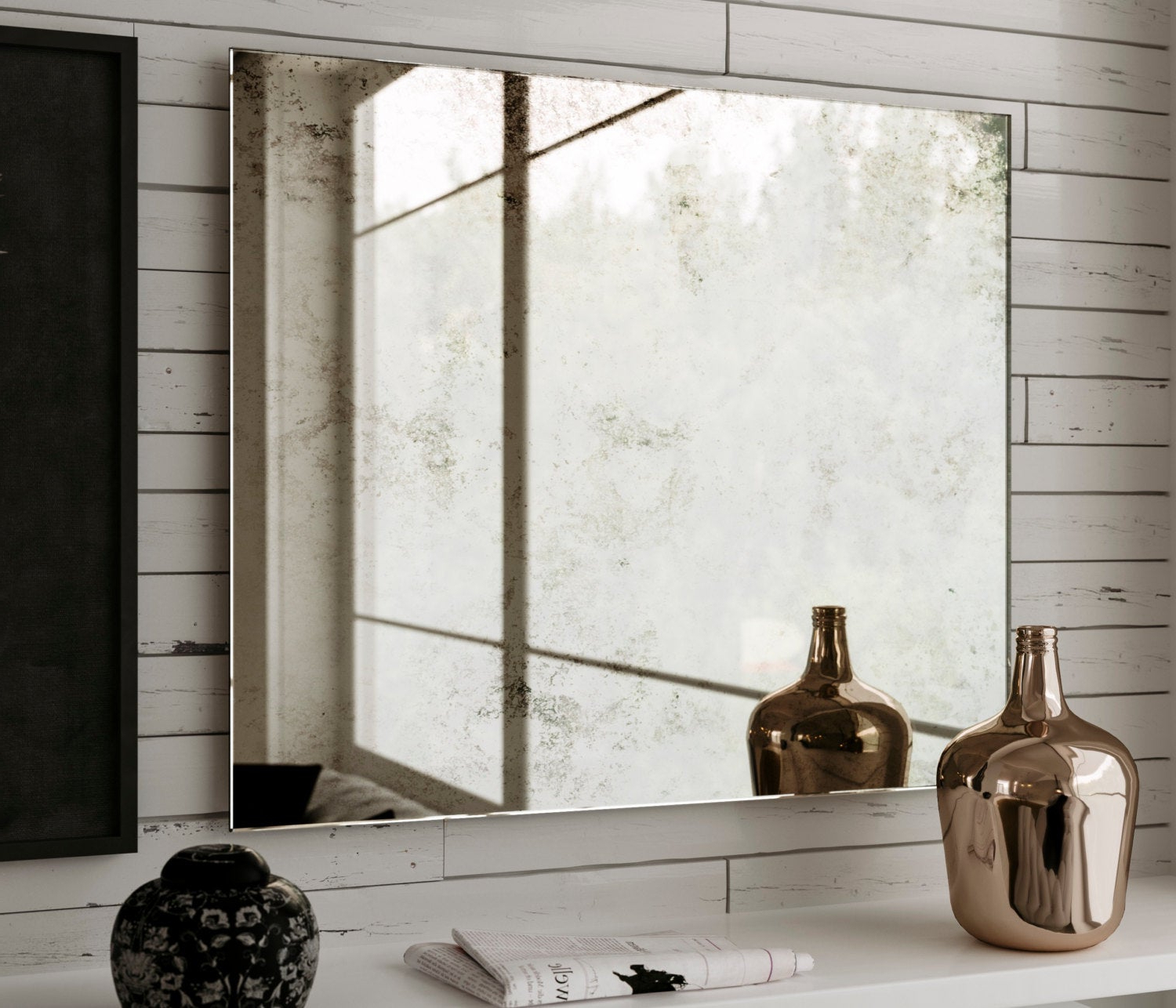 """Big Frameless Wall Mirrors Inside Recent 18 X 33"""" Hanging, Large Frameless Antiqued Wall Mirror With European  Pattern. 1940s And 1950s Style Hanging Mirror (View 10 of 20)"""