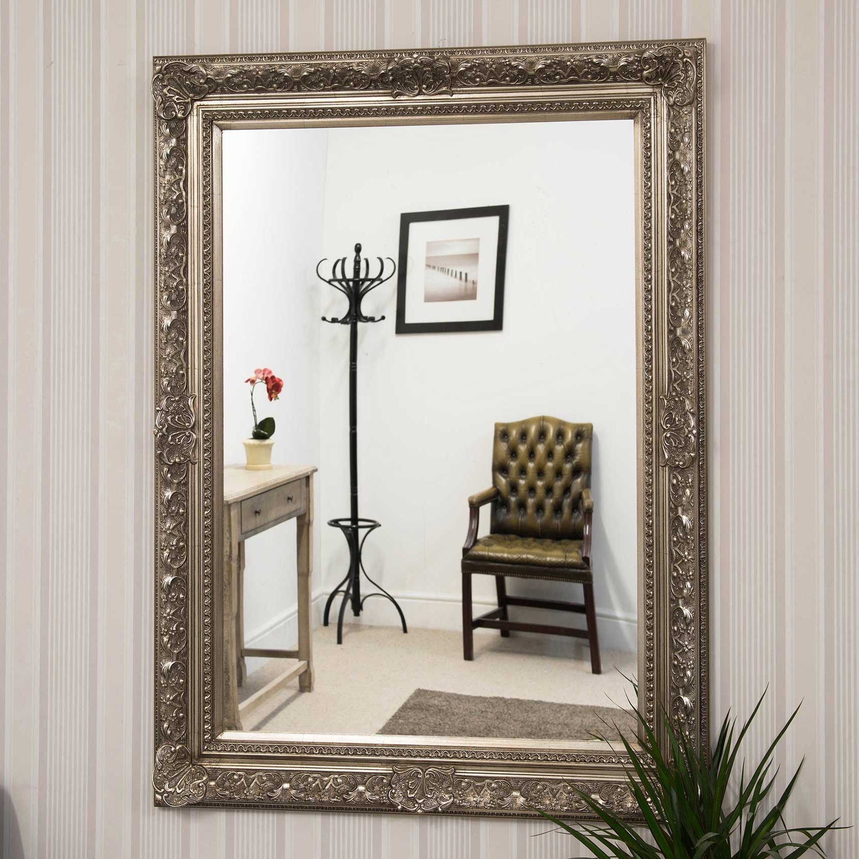 Big Wall Mirrors For Famous Details About Large Antique Design Ornate Silver Big Wall Mirror New 4ft2 X  3ft4 127cm X 101cm (View 8 of 20)