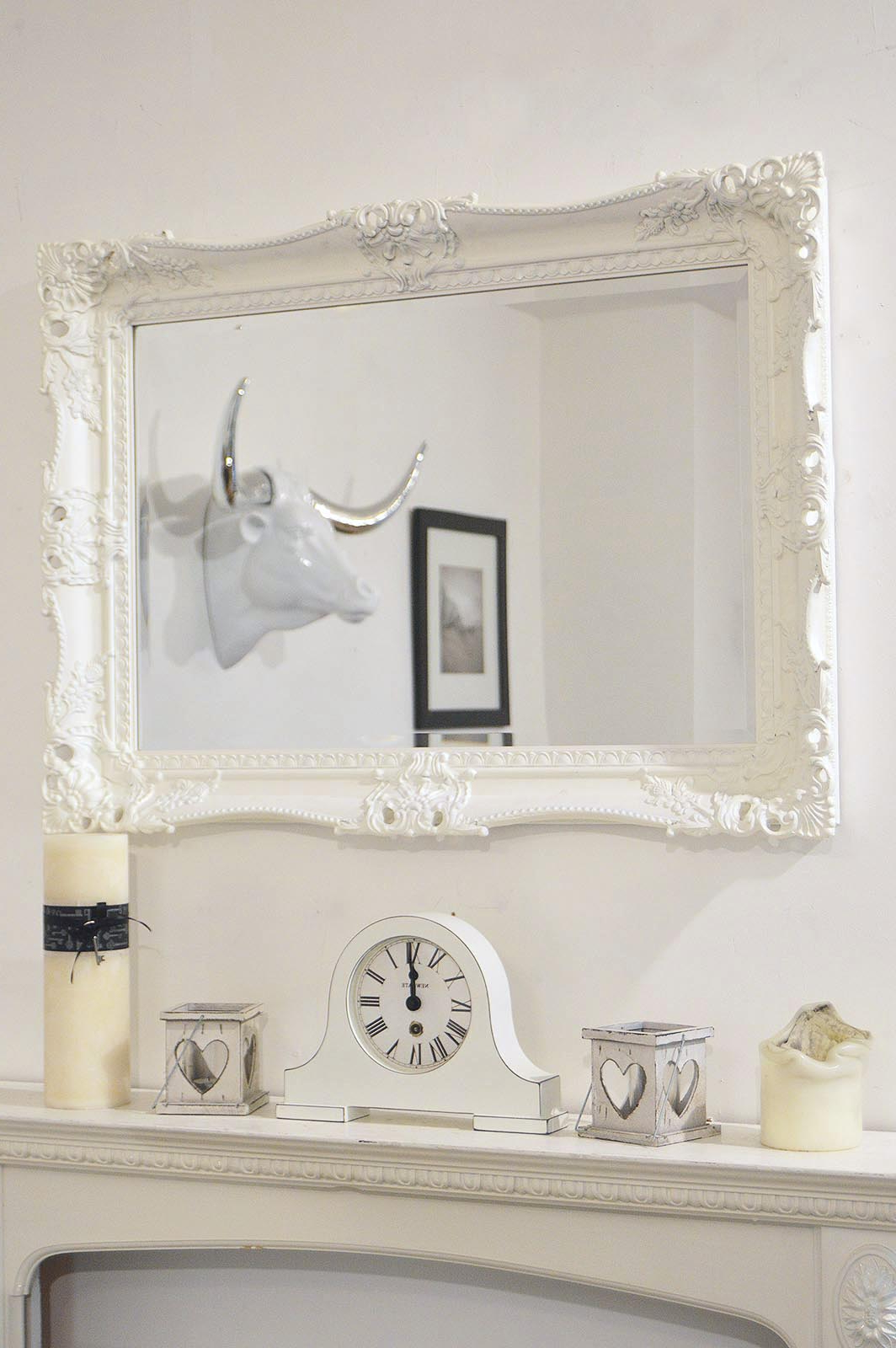 Big Wall Mirrors Within 2020 Details About Large White Very Ornate Antique Design Big Wall Mirror 3ft1 X  2ft3 94cm X 68cm (View 20 of 20)