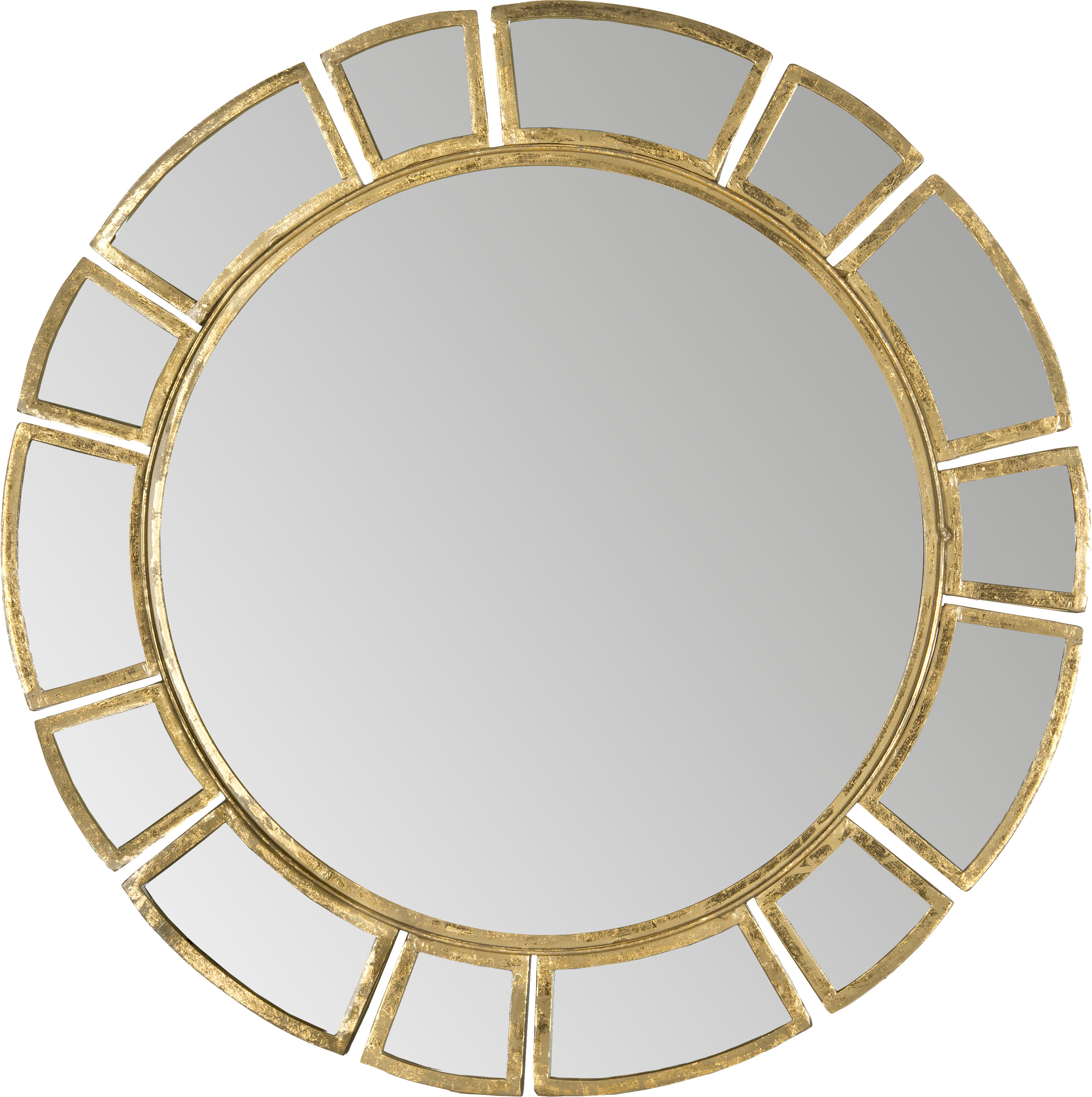 Birksgate Round Antique Gold Patina Sunburst Wall Mirror Intended For Trendy Tata Openwork Round Wall Mirrors (View 2 of 20)