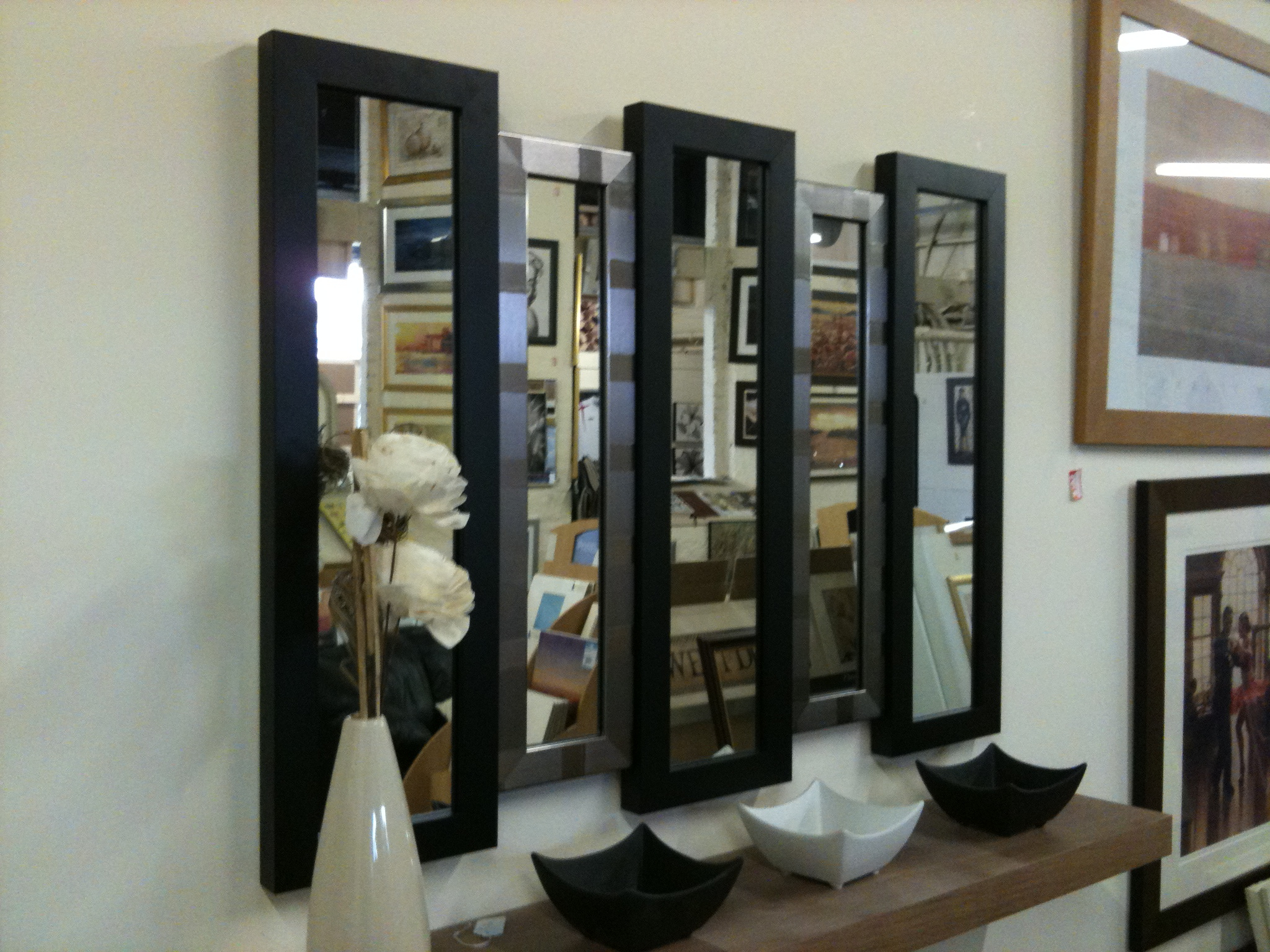 Black And Silver Wall Mirrors Regarding 2020 New Black/silver 5 Panel Wall Mirror 105 X 76 Cm (View 4 of 20)