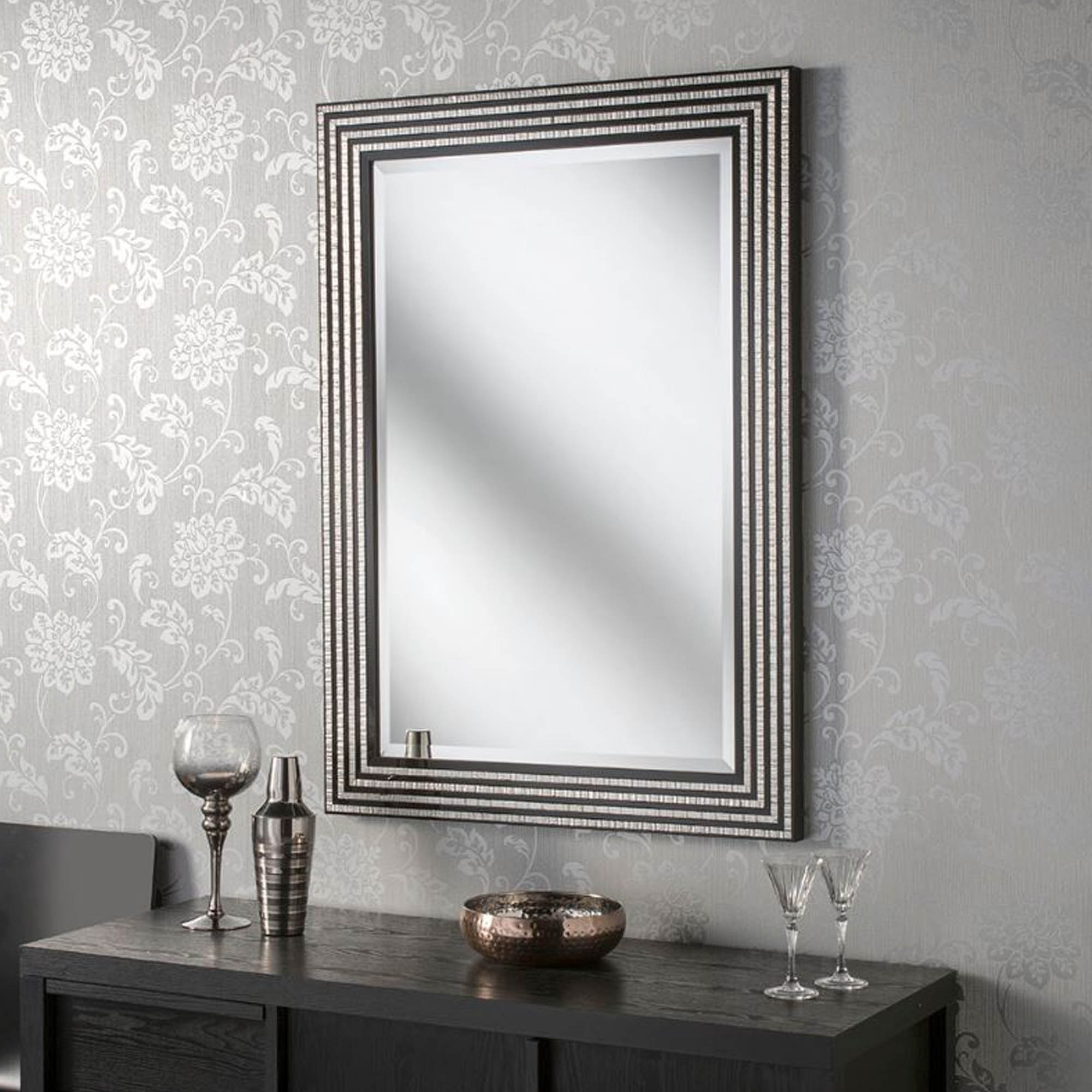 Black And Silver Wall Mirrors With Regard To Widely Used Black And Silver Line Rectangular Wall Mirror (View 12 of 20)