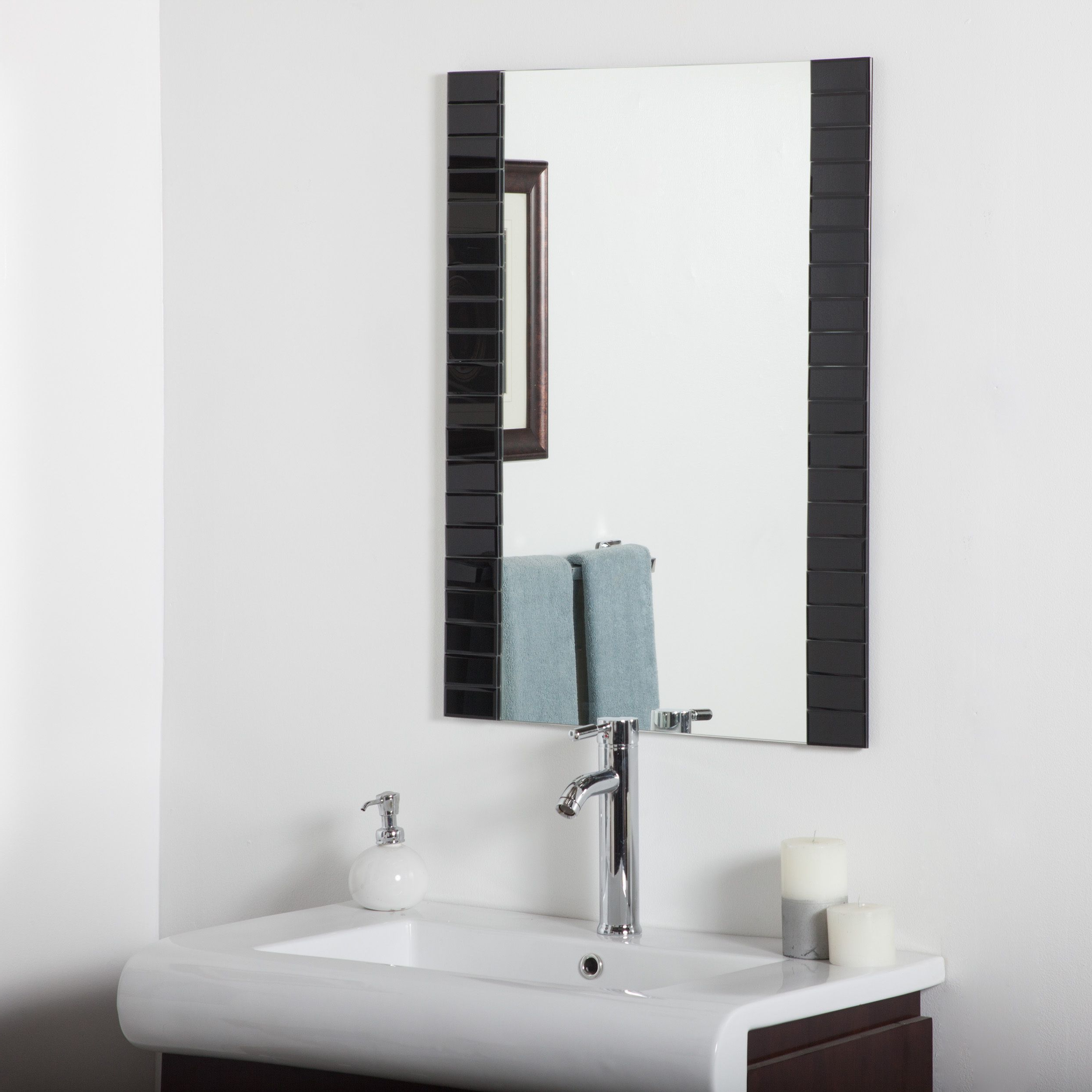 Black Beveled Bathroom Mirror (Beveled Bathroom Mirror ), Decor Within Newest Large Wall Mirror Without Frame (View 20 of 20)
