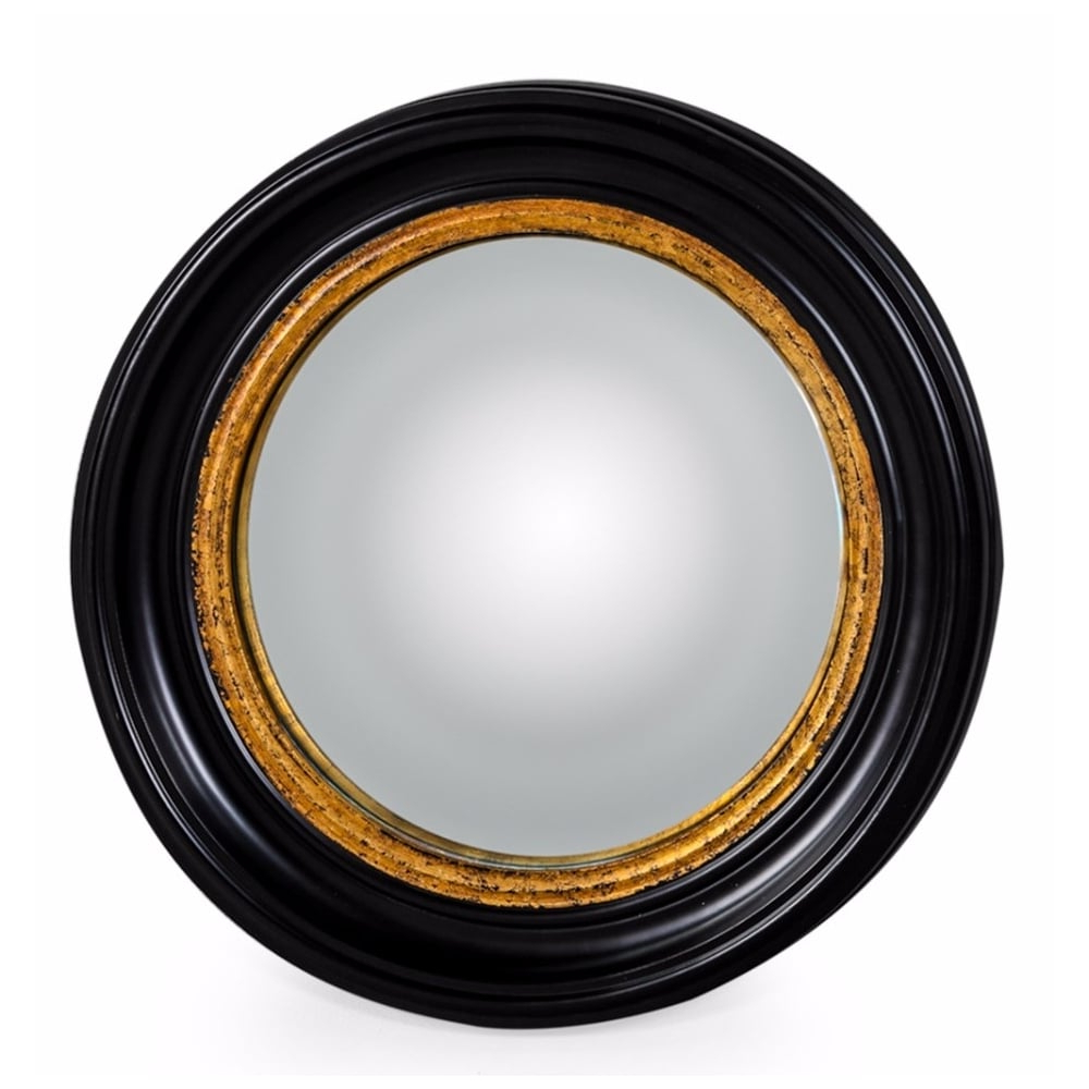 Black & Gold Convex Fish Eye Wall Mirror In Most Recent Round Convex Wall Mirrors (View 4 of 20)
