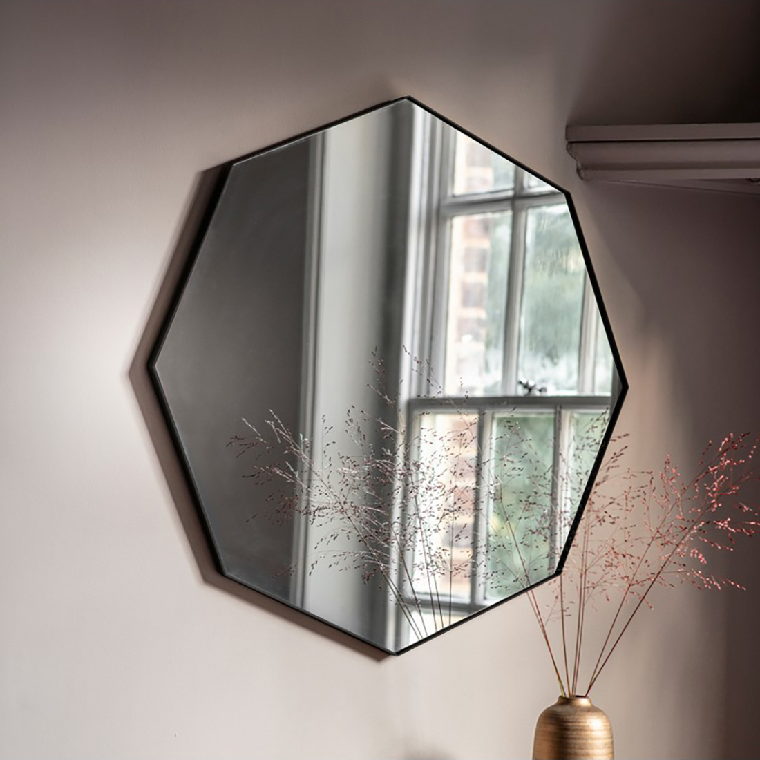 Black Metal Octagonal Wall Mirror With Latest Metal Frame Wall Mirrors (View 6 of 20)