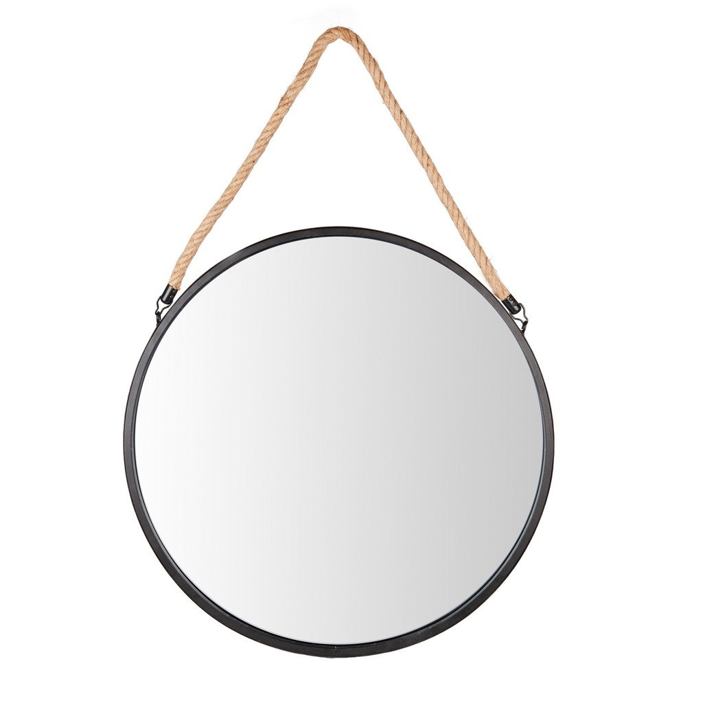 """Black Round Wall Mirrors Inside Well Known Framed 20"""" Decorative Round Black Metal Circle Wall Mirror With Hanging Rope (View 17 of 20)"""