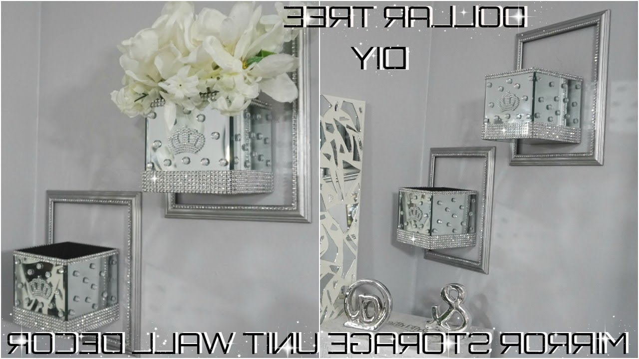 Bling Mirror Storage Wall Unit Decor Collab With Green Crystal Rose (View 18 of 20)