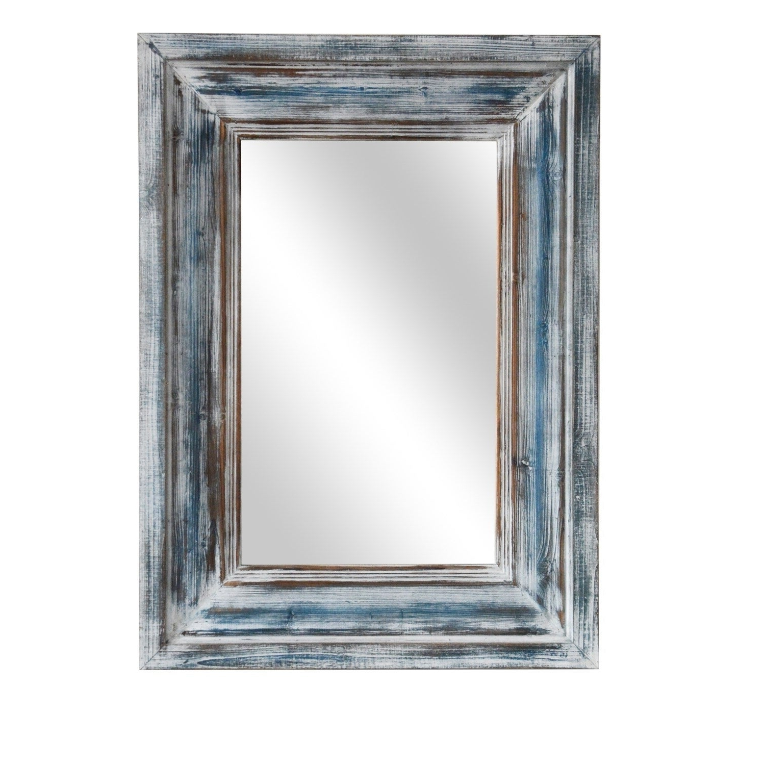 Blue Framed Wall Mirrors Inside Well Liked Blue Reflection Blue Horizontal And Vertical Wood Wall Mirror – A/n (View 9 of 20)