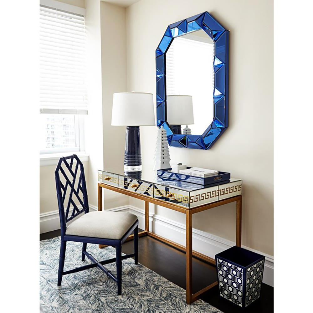 Blue Framed Wall Mirrors With Most Current Gene Hollywood Regency Blue Framed Wall Mirror (View 14 of 20)