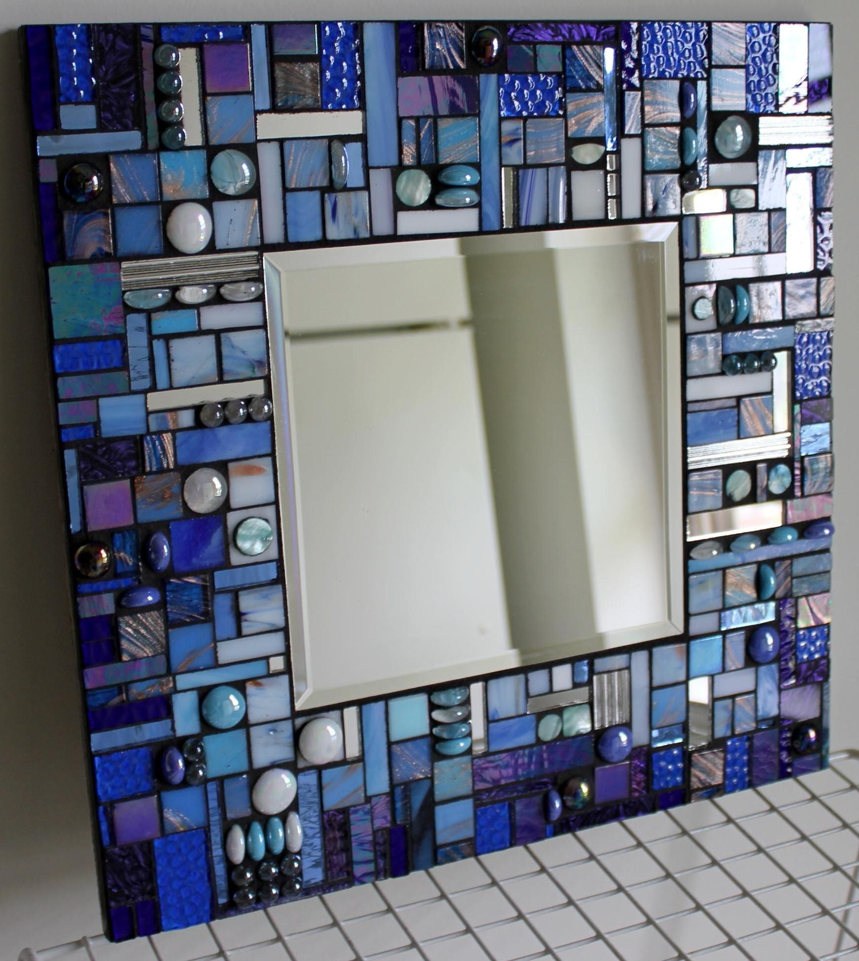 Blue Wall Mirrors Intended For Most Popular Glass Mosaic Abstract Blue Wall Mirror #stainedglassmirror (View 12 of 20)