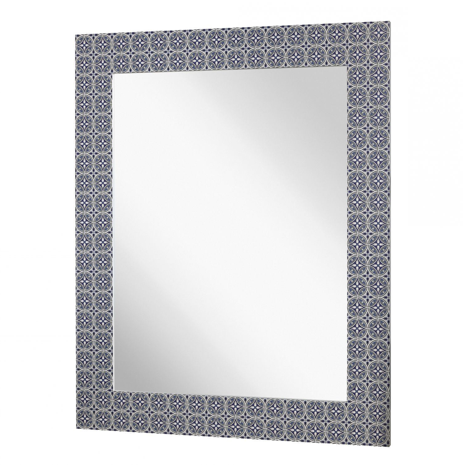 Blue Wall Mirrors Pertaining To Most Current Blue Pattern Wall Mirror (View 20 of 20)
