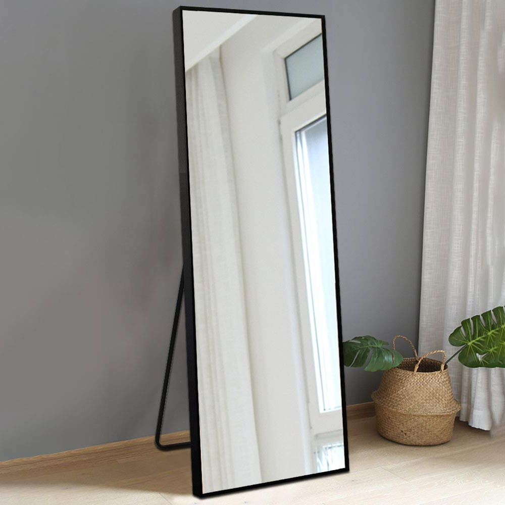 "Bolen Dressing Mirror Full Length Mirror Standing Hanging Or Leaning Against Wall Mirror Aluminum Alloy Frame Mirror 65""X22"" (Black) Intended For Preferred Standing Wall Mirrors (View 7 of 20)"