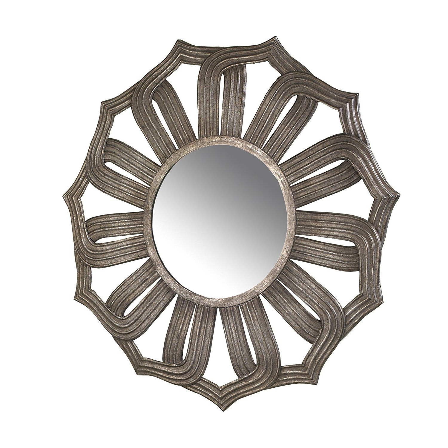 Bombay Company Antiqued Silver Lotus Mirror >>> Insider's Special In Preferred Brylee Traditional Sunburst Mirrors (View 13 of 20)
