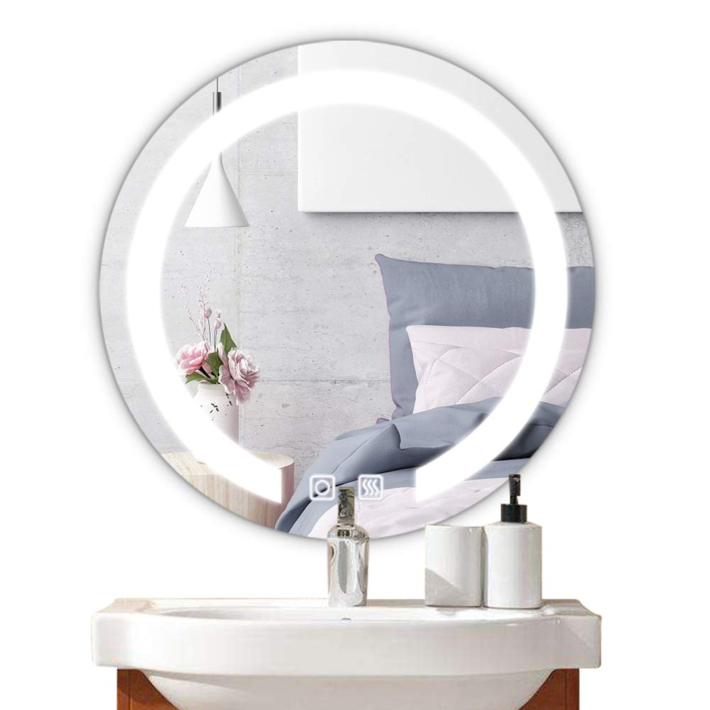 "Bonnlo 20"" Dimmable Round Led Lighted Bathroom Mirror, Led Illuminated Wall Mirror With Touch Button And Anti Fog Function,bathroom Vanity Mirror Wall Intended For Well Liked Lighted Wall Mirrors For Bathrooms (View 18 of 20)"