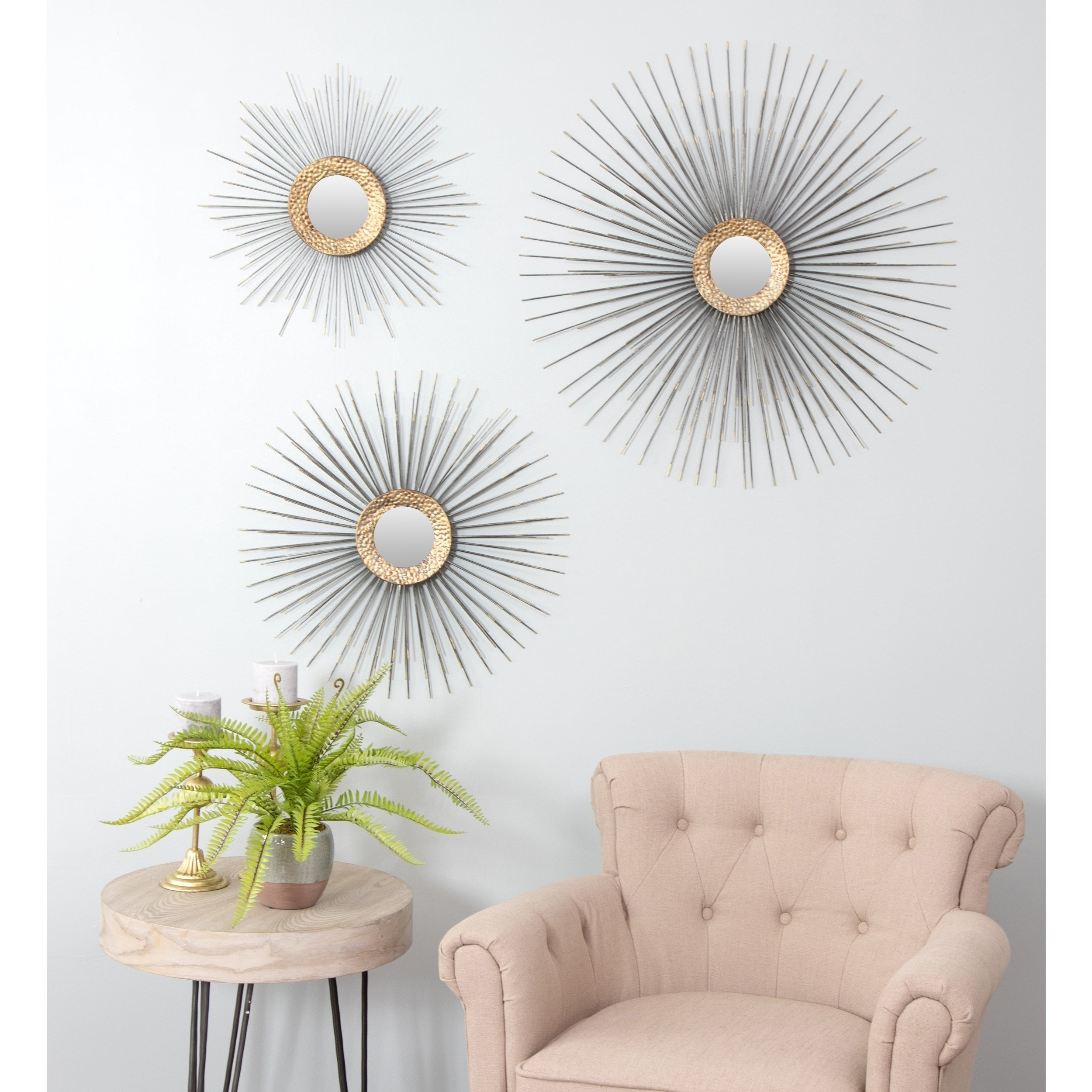 """Boteh Mid Century Wall Mirrors (Set Of 3) – Grey – 32""""h X 32""""w X  (View 4 of 20)"""