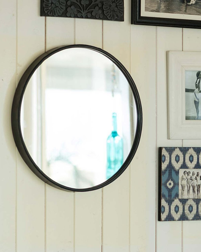 Boudoir Black Round Mirror Metal Frame D Cm Delivery Classic Mirrors With Popular Black Round Wall Mirrors (View 15 of 20)