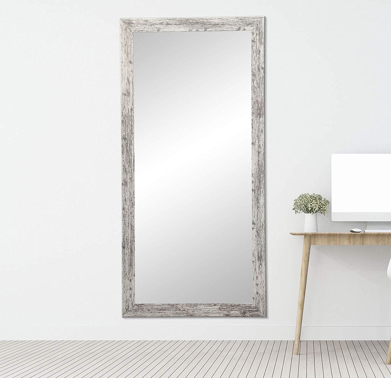Brandtworks Barn Wood Full Length Floor Vanity Wall Mirror, 32 X 71, Heavy Distressed White/gray For Widely Used White Full Length Wall Mirrors (View 12 of 20)