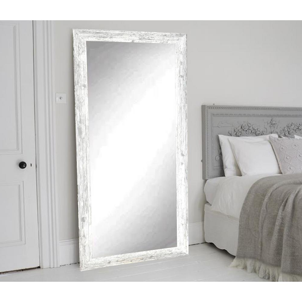Brandtworks Distressed White Barnwood Full Length Floor Wall Mirror Inside Well Liked Floor To Wall Mirrors (View 6 of 20)
