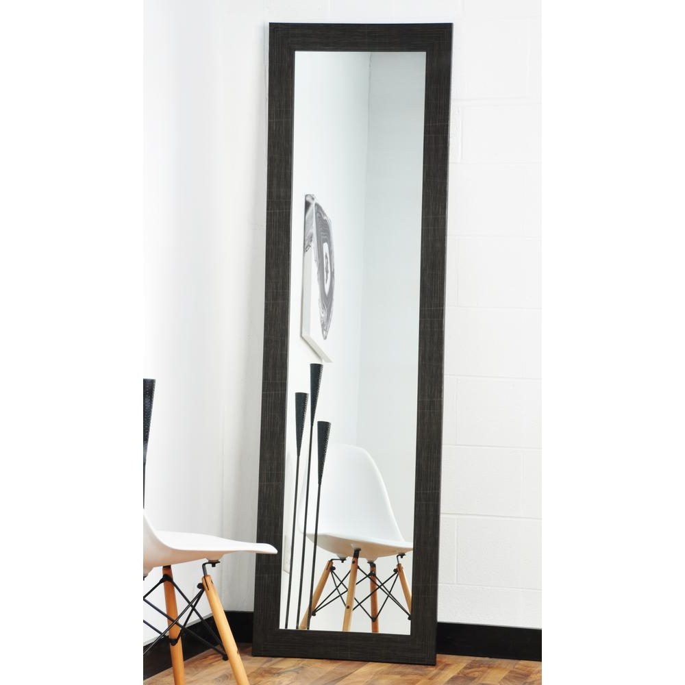 Brandtworks Modern Scratched Black Full Length Framed Mirror Bm5Thin Intended For Most Up To Date Modern Full Length Wall Mirrors (View 2 of 20)