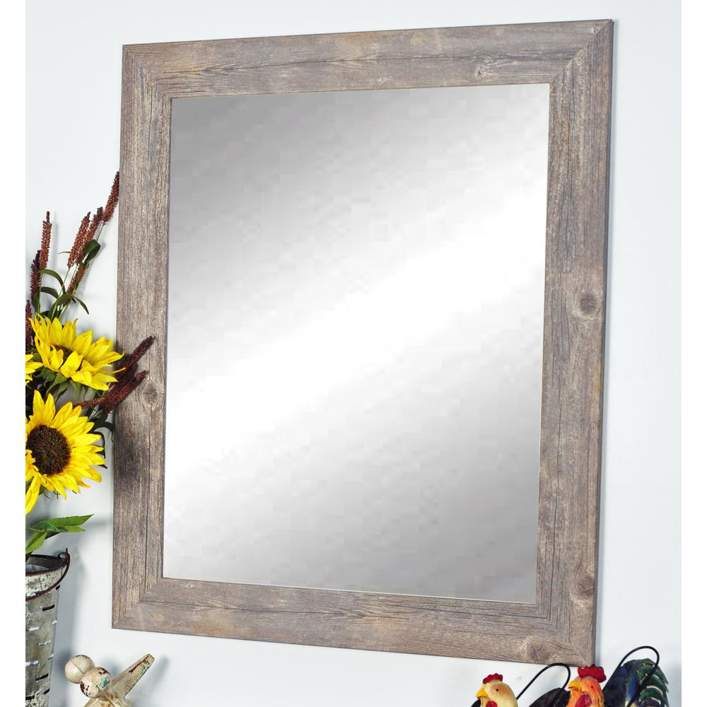Brandtworks Rustic Wild West Brown Barnwood Decorative With Regard To Most Up To Date Rustic Wall Mirrors (View 17 of 20)