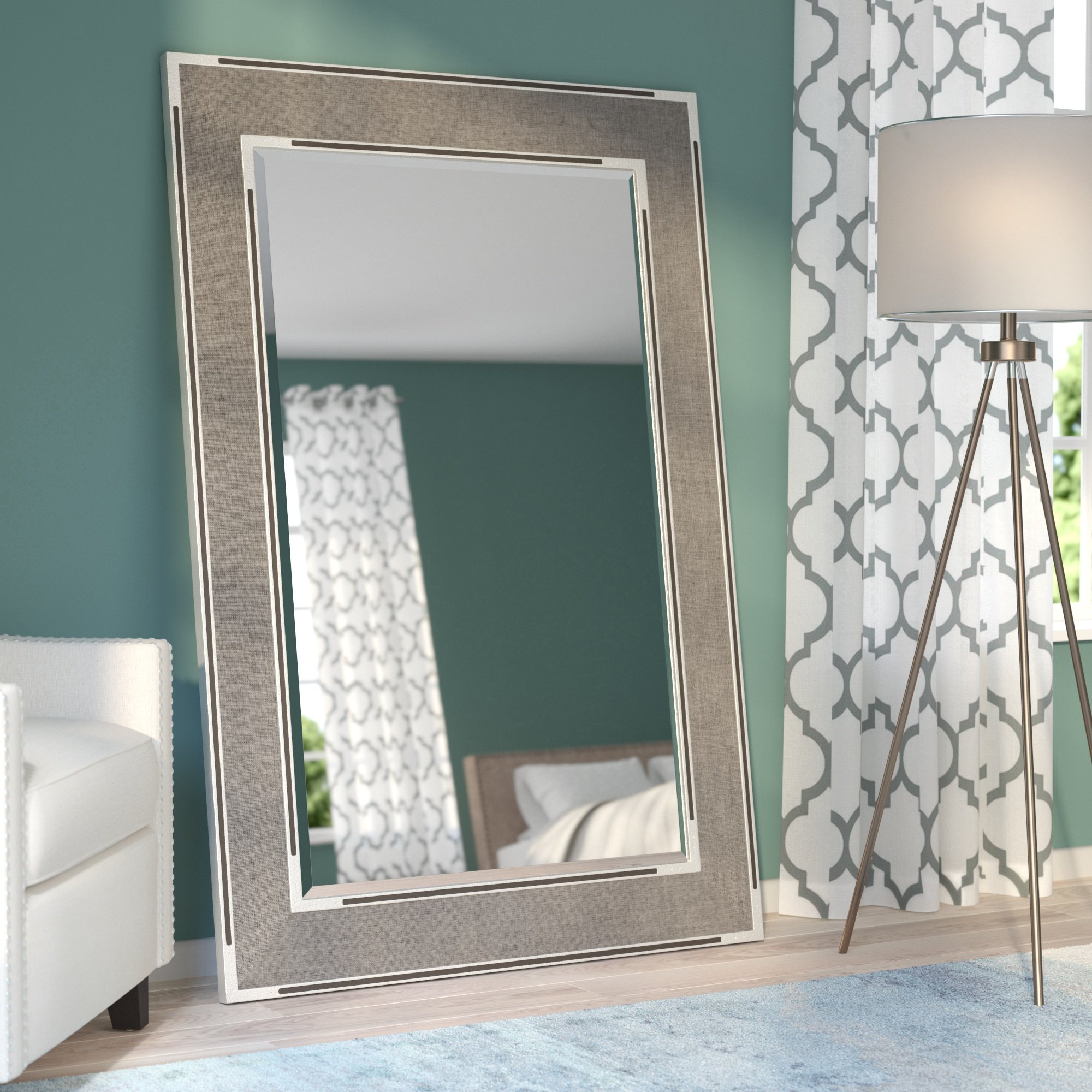 Brodbeck Oversized Wall Mirror Pertaining To Fashionable Grey Wall Mirrors (View 16 of 20)