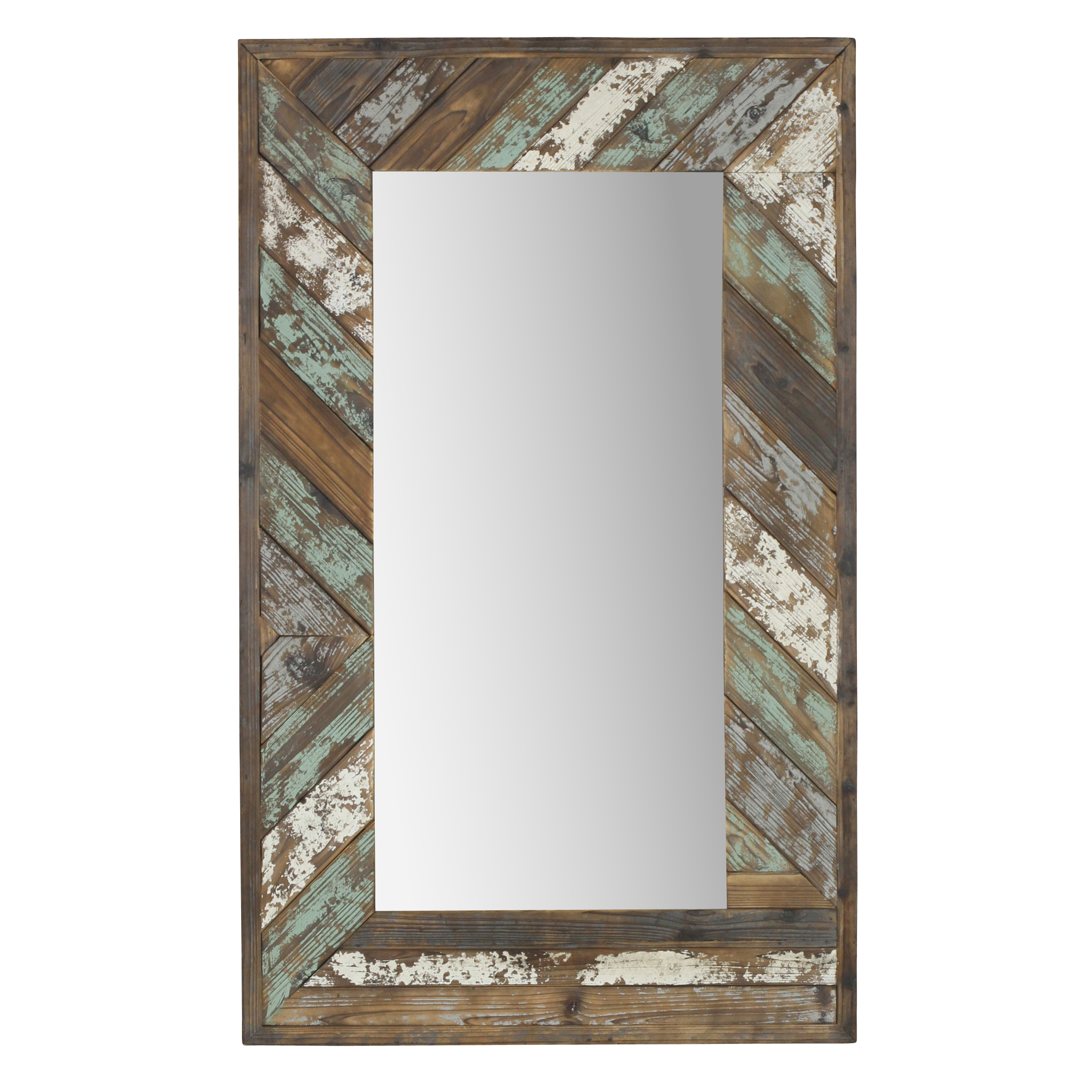 "Brogan Distressed Wood Slat Wall Mirror Multi Colored 43"" X 26""aspire Throughout 2020 Distressed Wall Mirrors (View 5 of 20)"