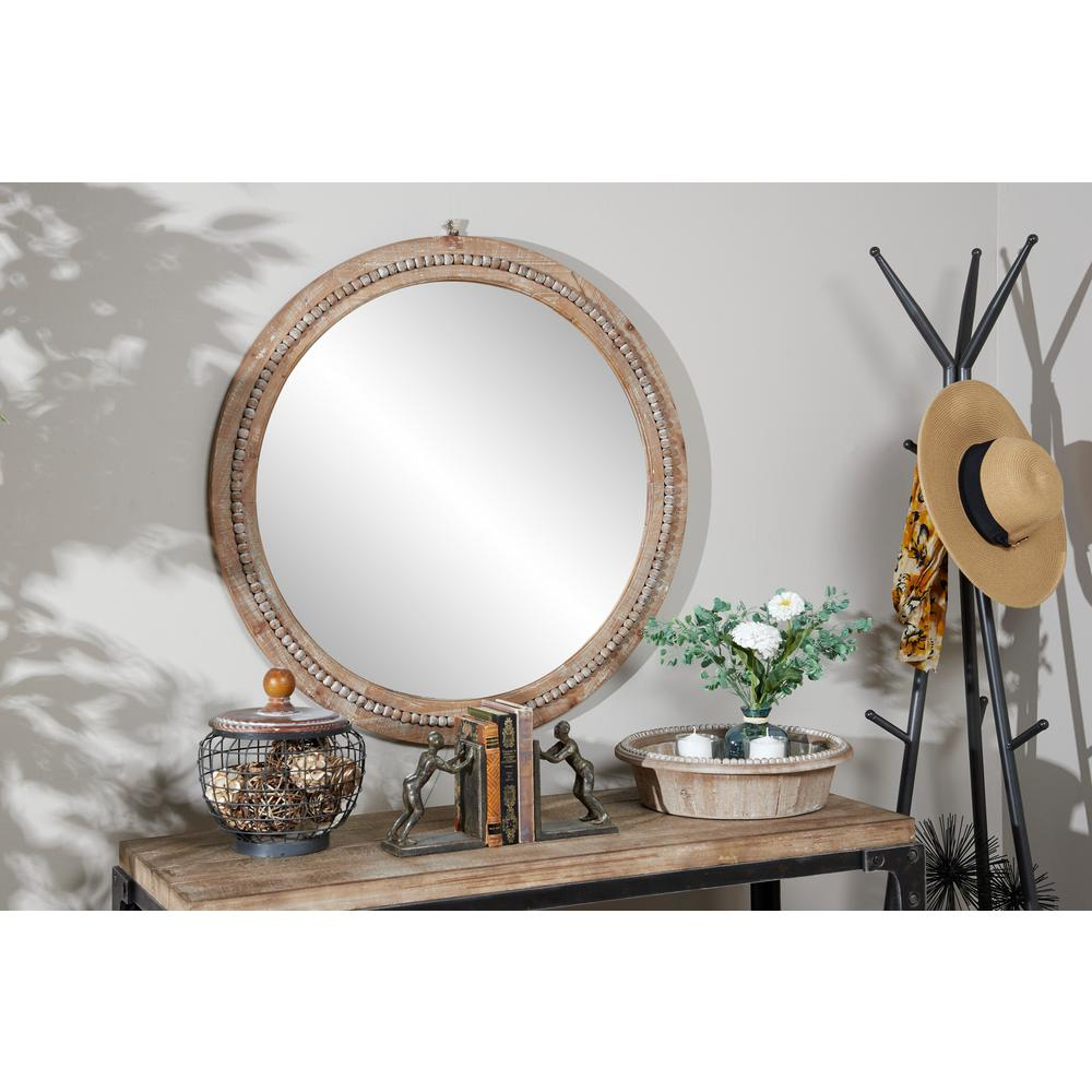 Brown Wall Mirrors For Popular Litton Lane Round Natural Wood Brown Wall Mirror 43591 – The Home Depot (View 9 of 20)