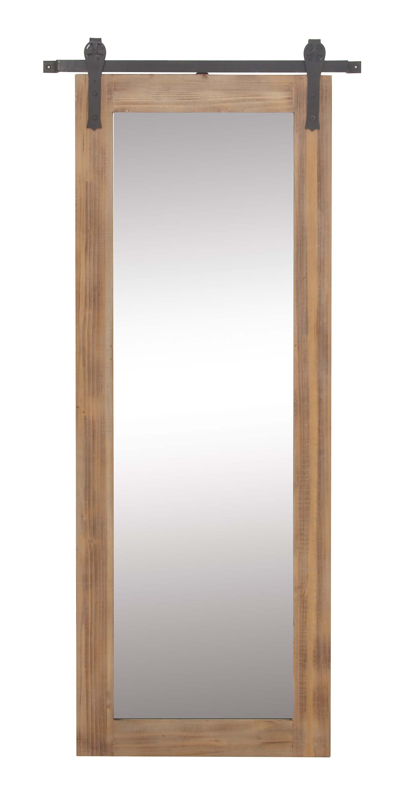 Brown Wall Mirrors Pertaining To Trendy Decmode Farmhouse 70 X 32 Inch Rectangular Wooden Framed Wall Mirror With Metal Wall Brackets, Brown (View 7 of 20)