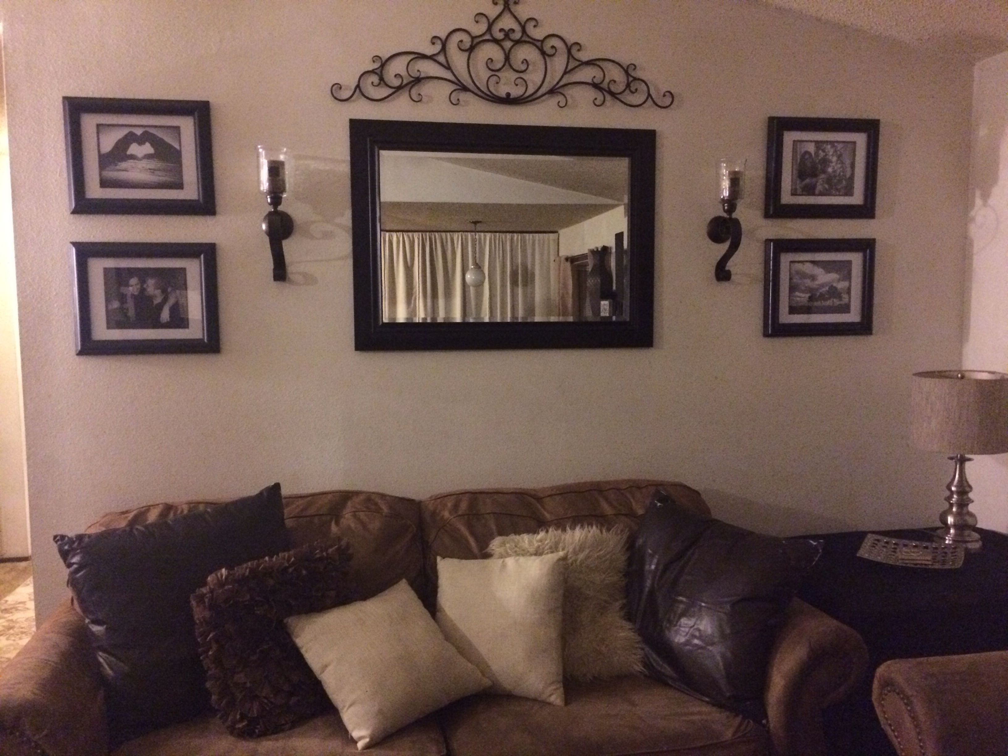 Brown Wall Mirrors Throughout Well Known Behind Couch Wall In Living Room Mirror, Frame, Sconces, And Metal (View 10 of 20)